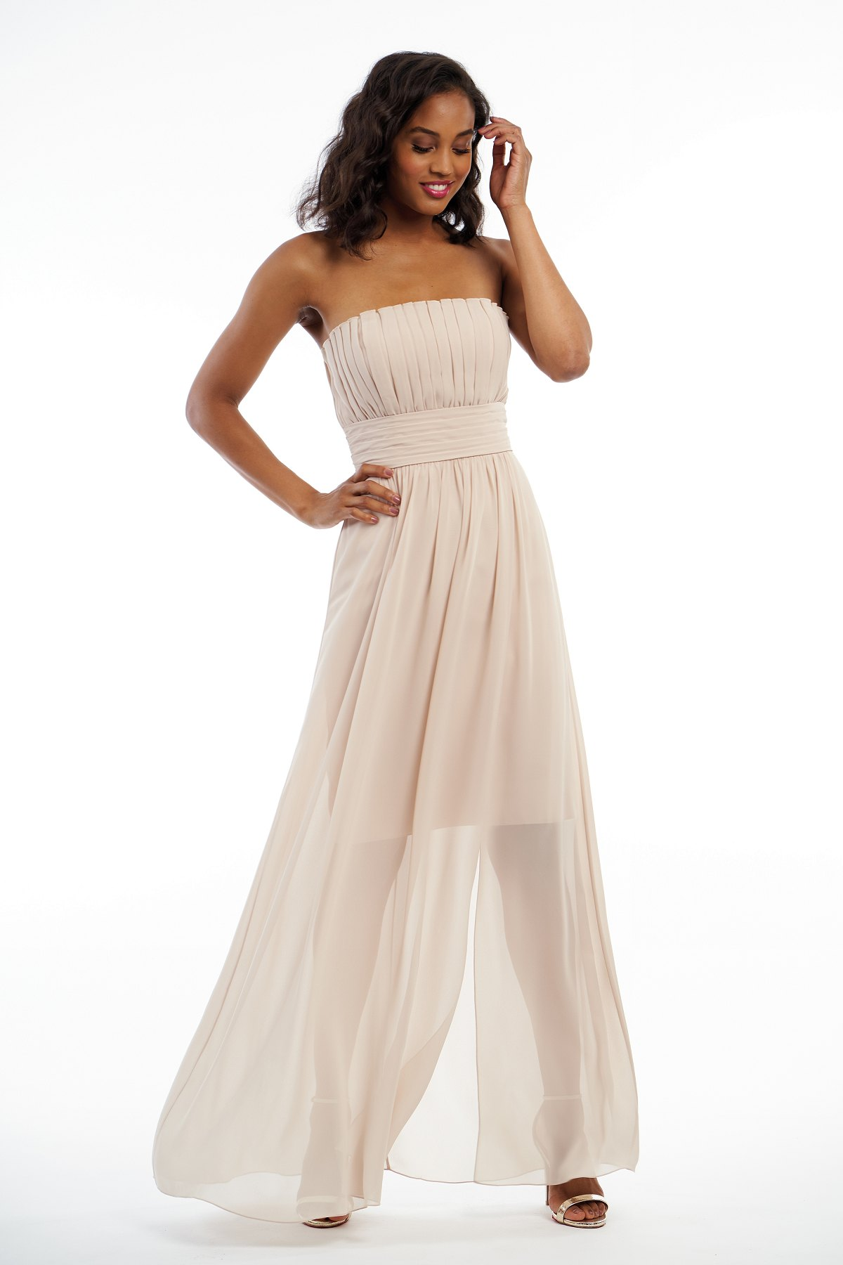 P216006 -  Pretty charlotte chiffon floor length bridesmaid dress with a strapless neckline and beautiful detailed gathers throughout the dress. A short base skirt underneath the flowy outer layer skirt to complete the look.    Available in 41 colors