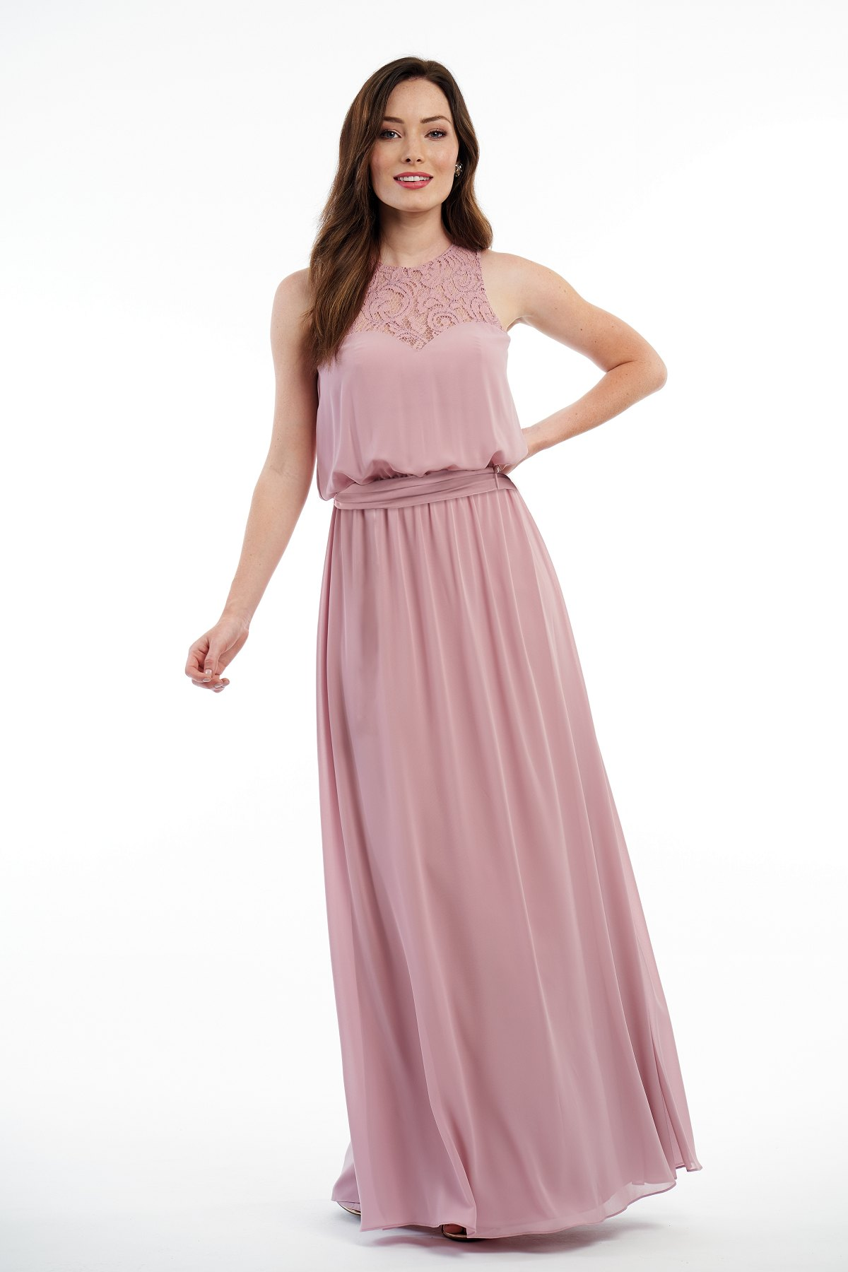 P216010 -  Beautiful charlotte chiffon and lace floor length bridesmaid dress with a pretty jewel neckline and flowy bodice. Detailed gathers on the skirt and a belt that wraps around the waist to create a bow on the back.    Available in 18 colors