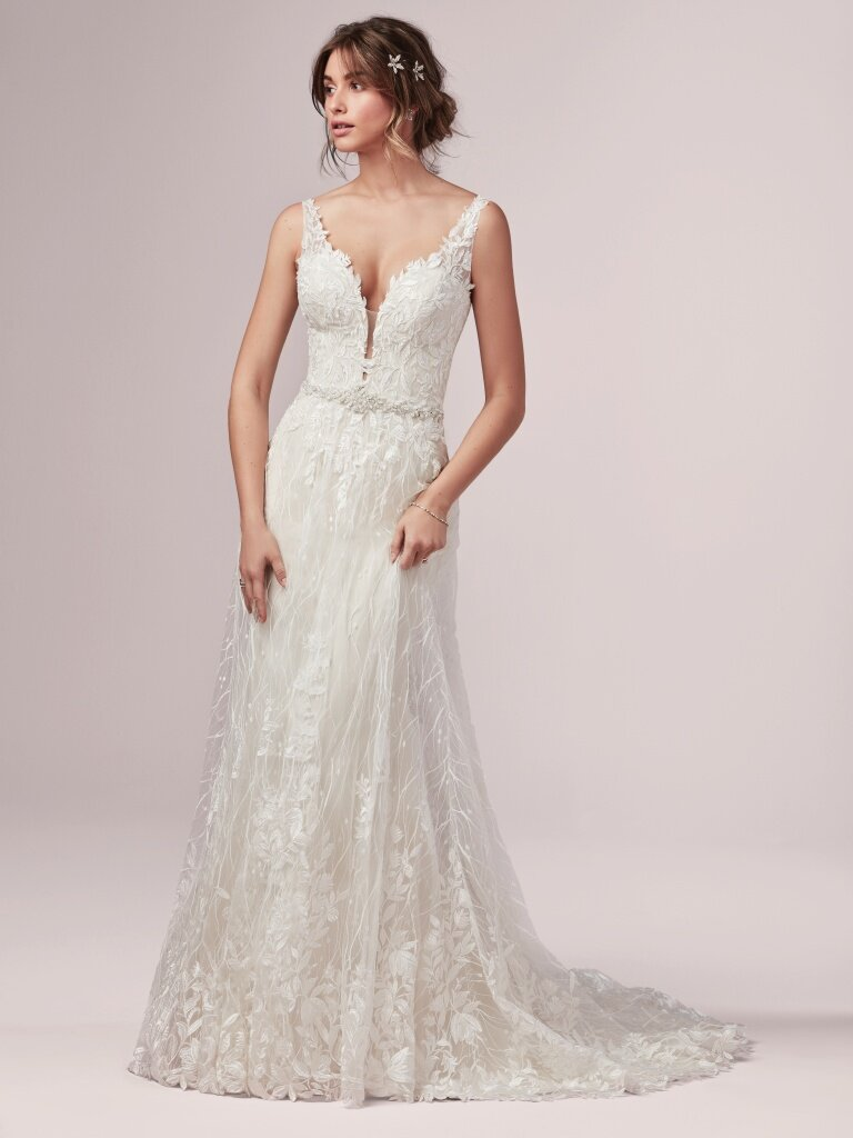 Molly -  This delicate and romantic sheath wedding dress features beaded lace motifs atop allover lace, with an illusion V-neckline. Illusion straps and back bodice, both accented in lace motifs, finish the look. Finished with covered buttons over zipper and inner elastic closure. Detachable beaded belt featuring Swarovski crystals sold separately. Available in plus size.    Available in: Ivory, Ivory/Light Gold
