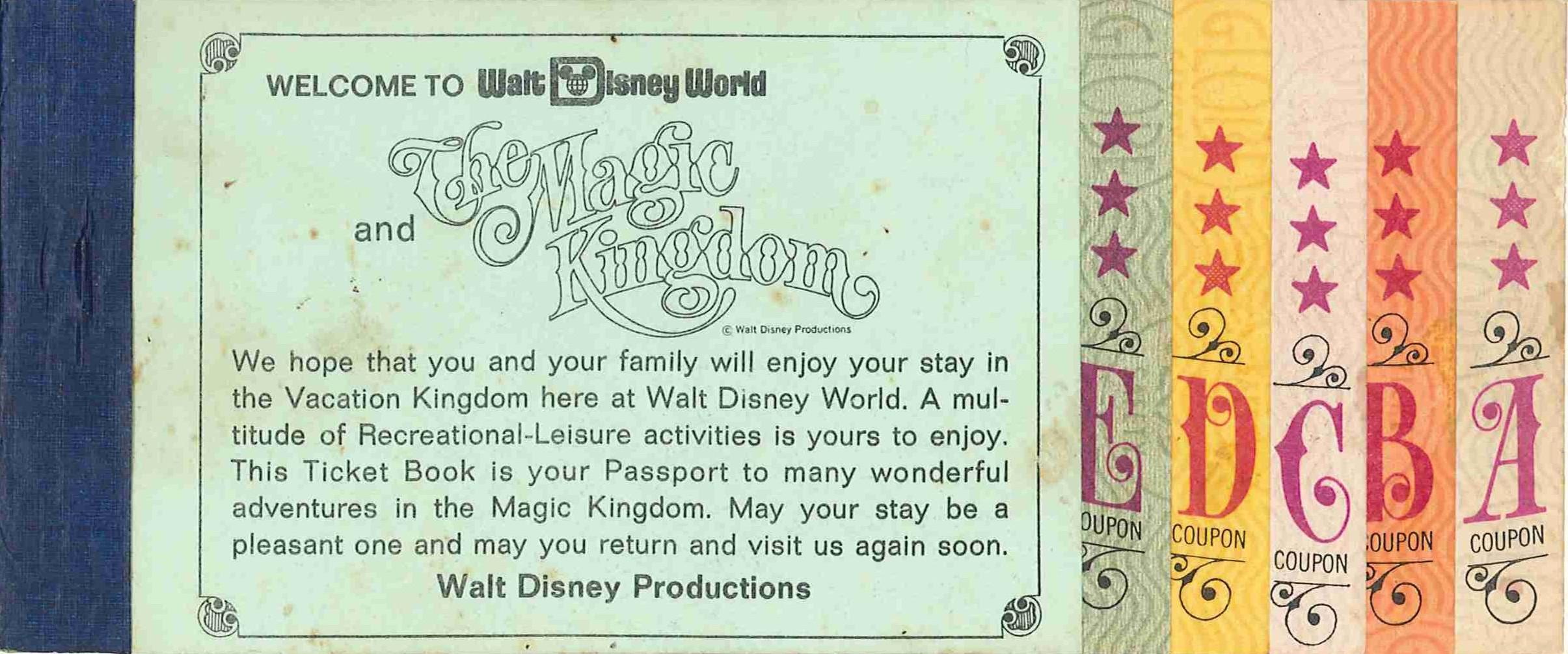 A vintage ticket bookfor Walt Disney World.