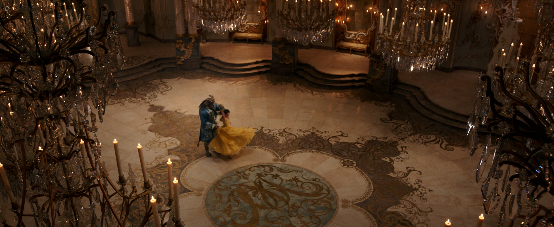 Belle (Watson) and Beast (Stevens) dancing in the iconic ballroom scene. So gorgeous!