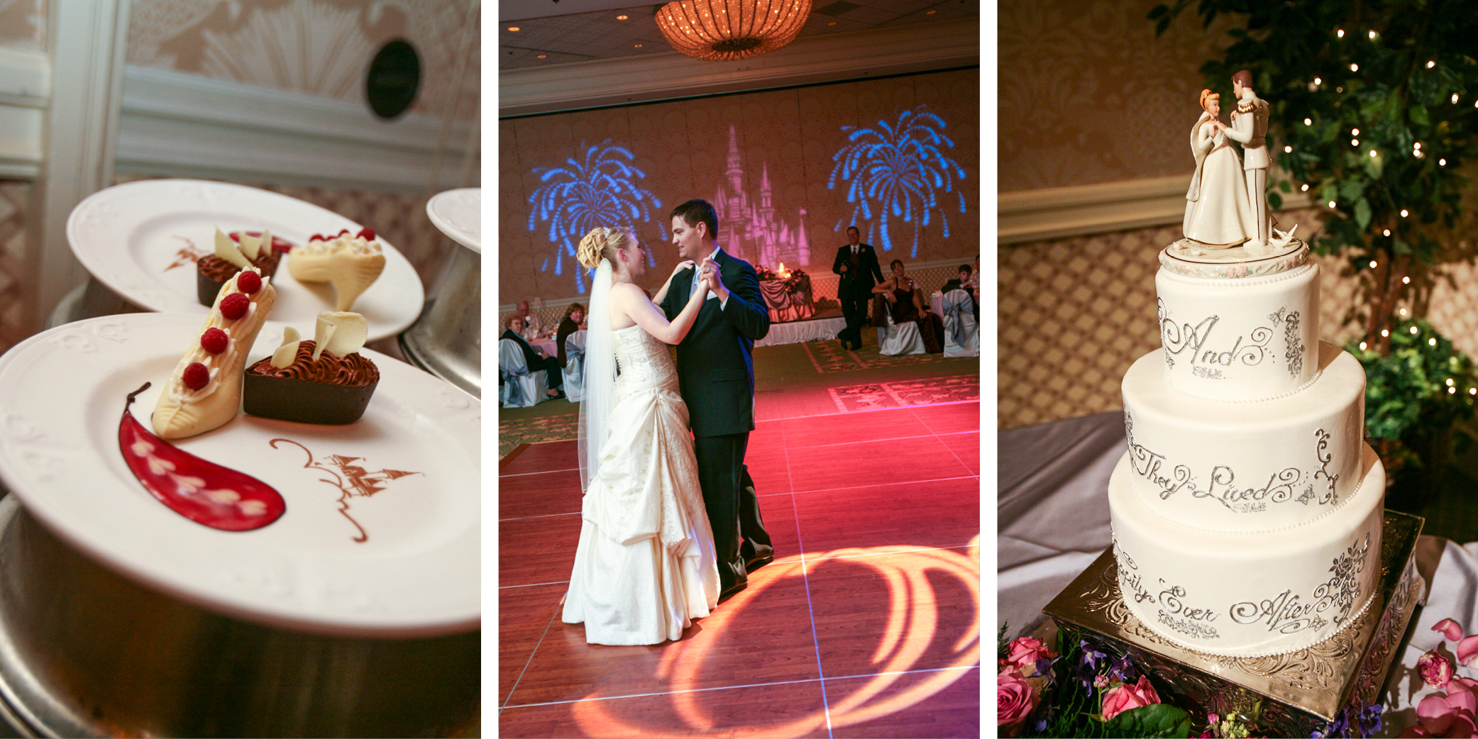 Some Disney touches at our wedding included a glass slipper dessert, castle projections and a fairy tale cake.