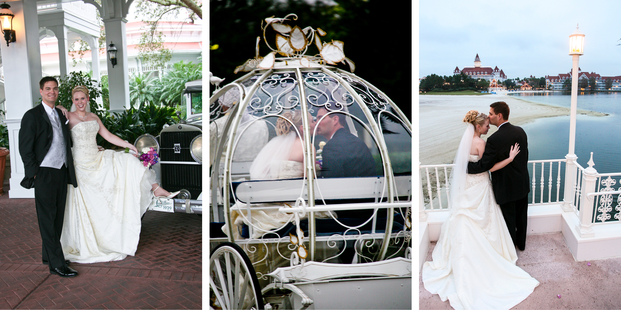 Some shots from our Fairy Tale Wedding: posing with a vintage car, riding in the pumpkin coach and a view of the Grand Floridian.