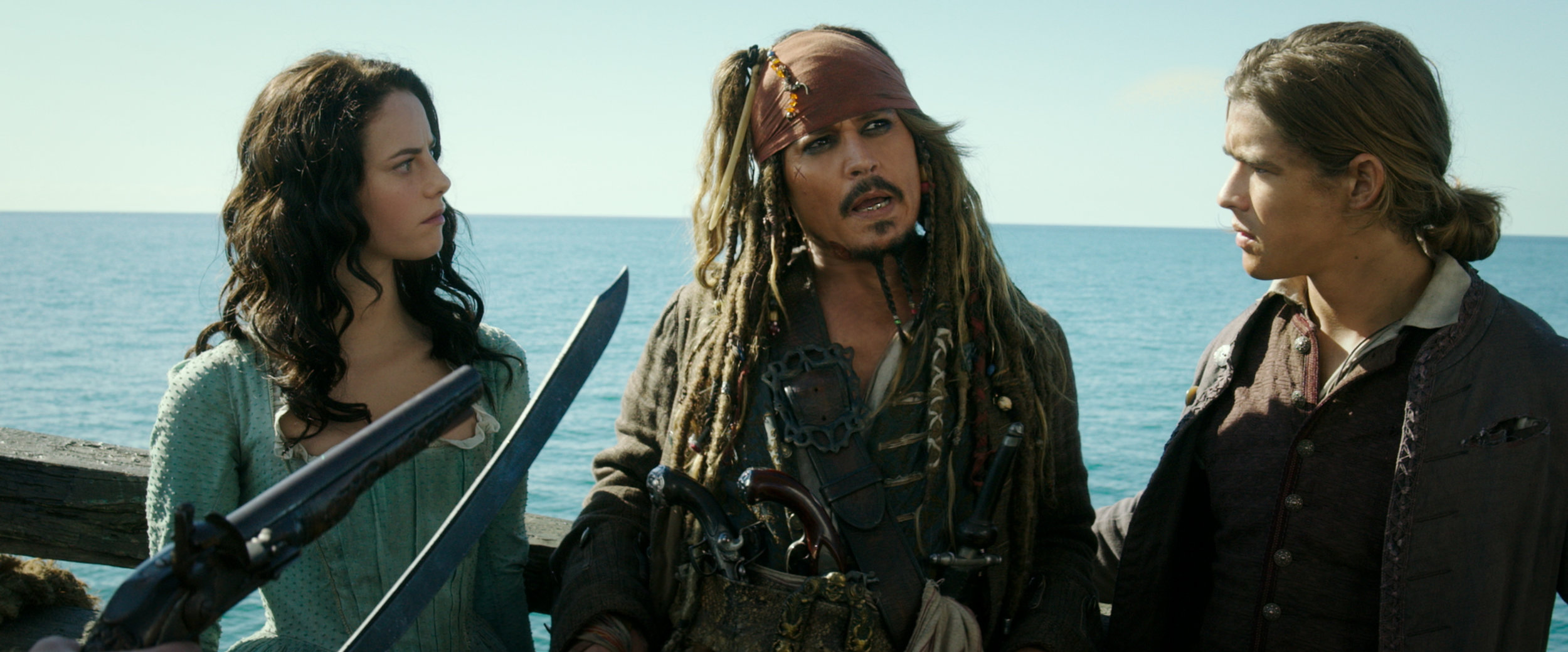 Jack Sparrow (Depp) along with newcomers Henry (Thwaites)and Carina (Scodelario).