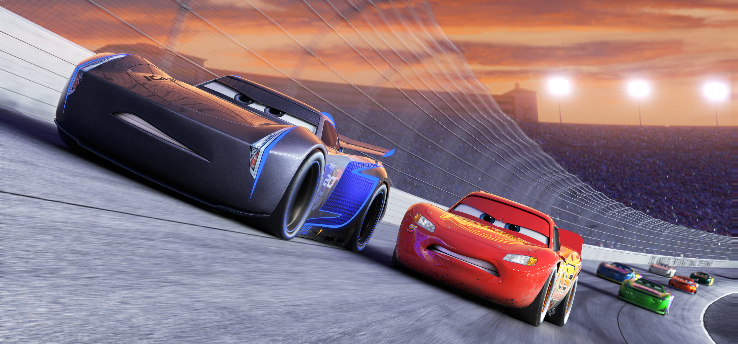 Lightning McQueen racing with rookie Jackson Storm