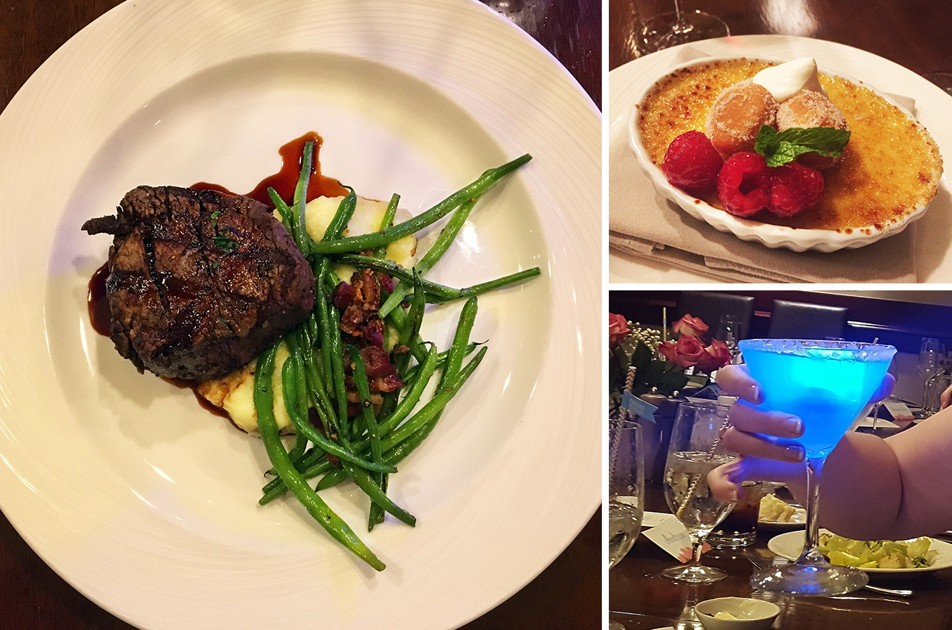 "The filet mignon meal, creme brûlée dessert and magical ""Blue Glow-tini"""
