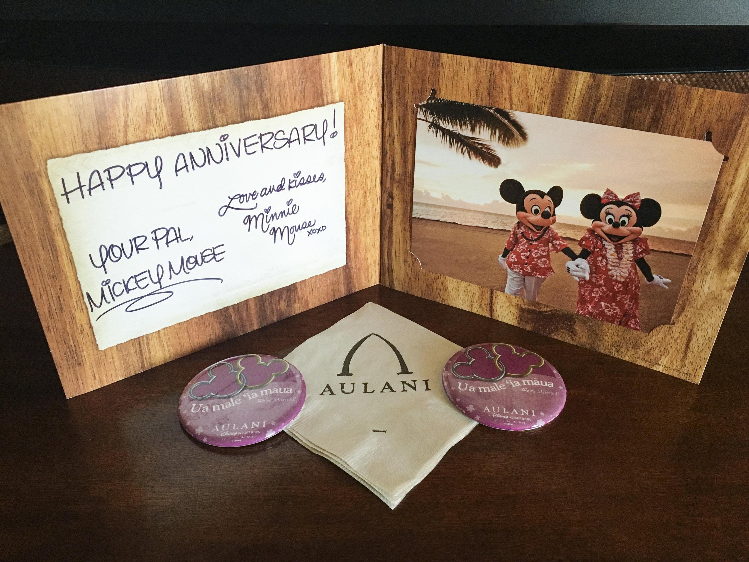 Mahalo Mickey & Minnie for sending sending us an anniversary card!