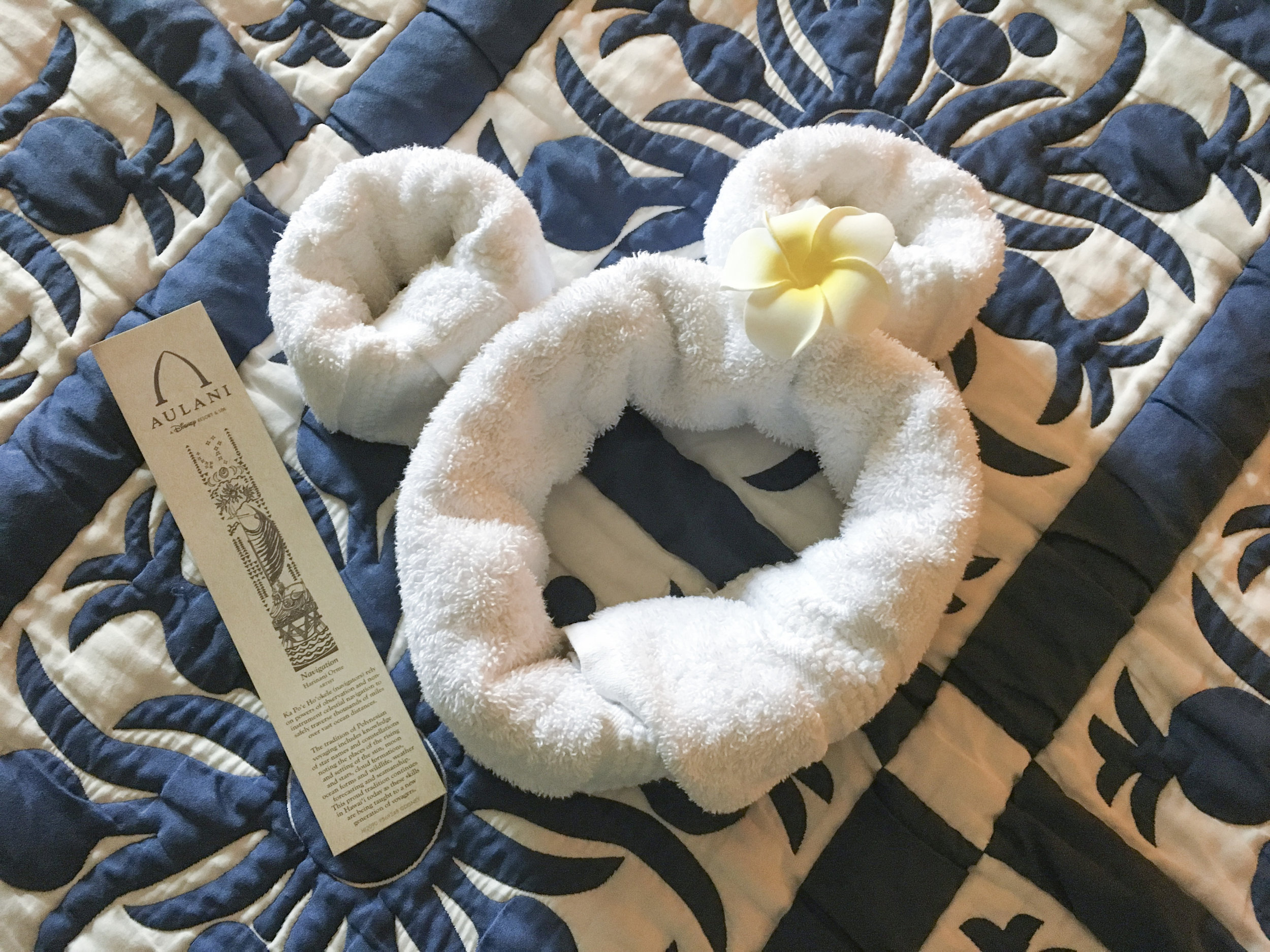 Housekeeping left a Mickey towel adorned with a flower hair clip.
