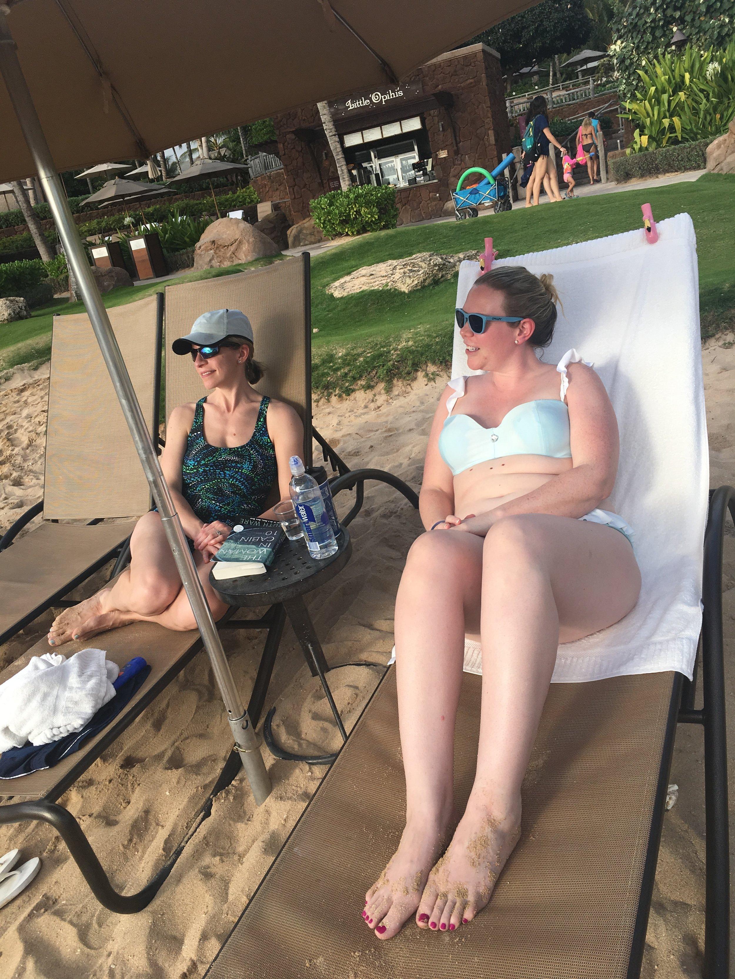 The girls beaching' it.