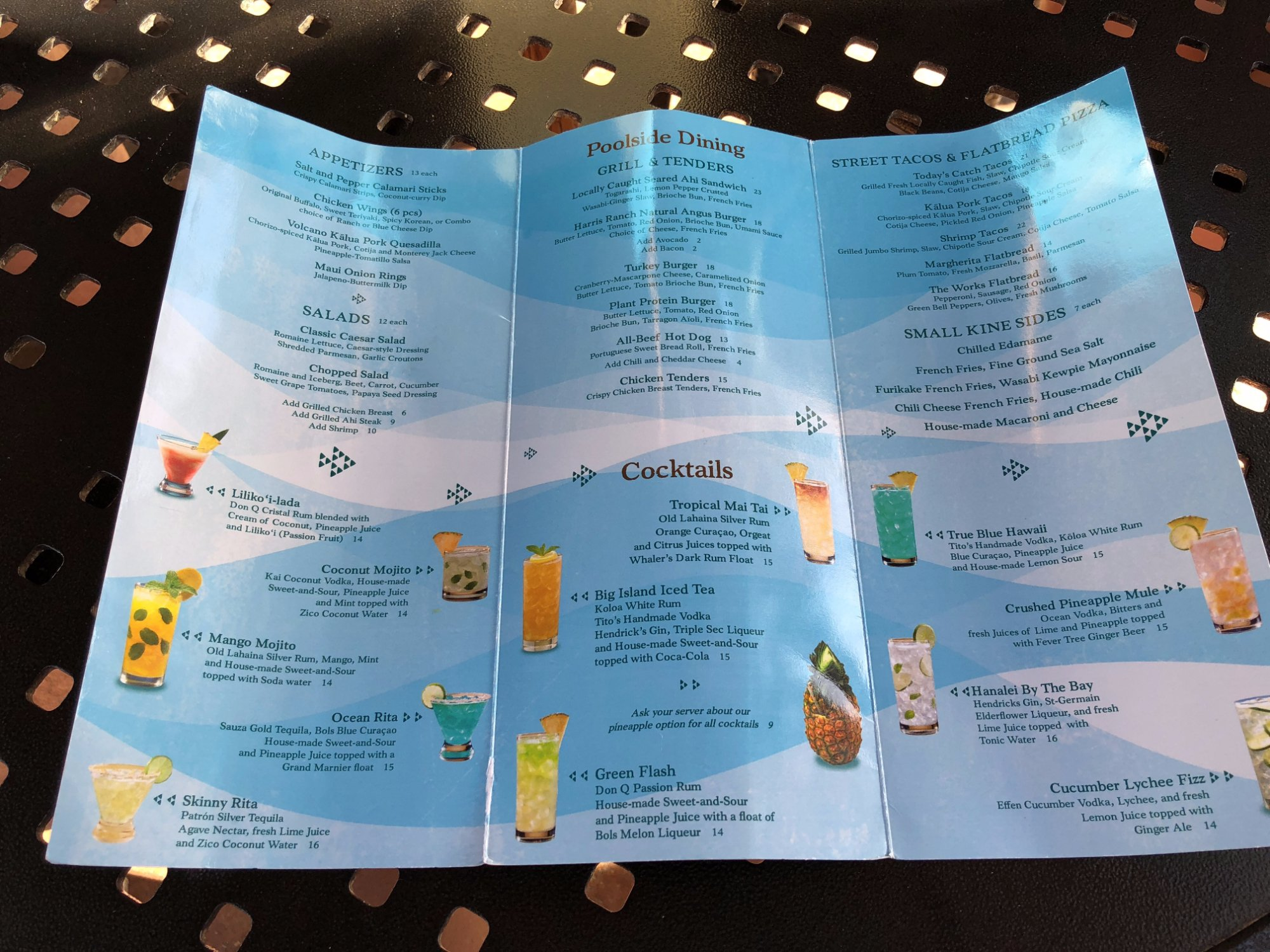 This was the menu for the pool bar drink and food offerings.