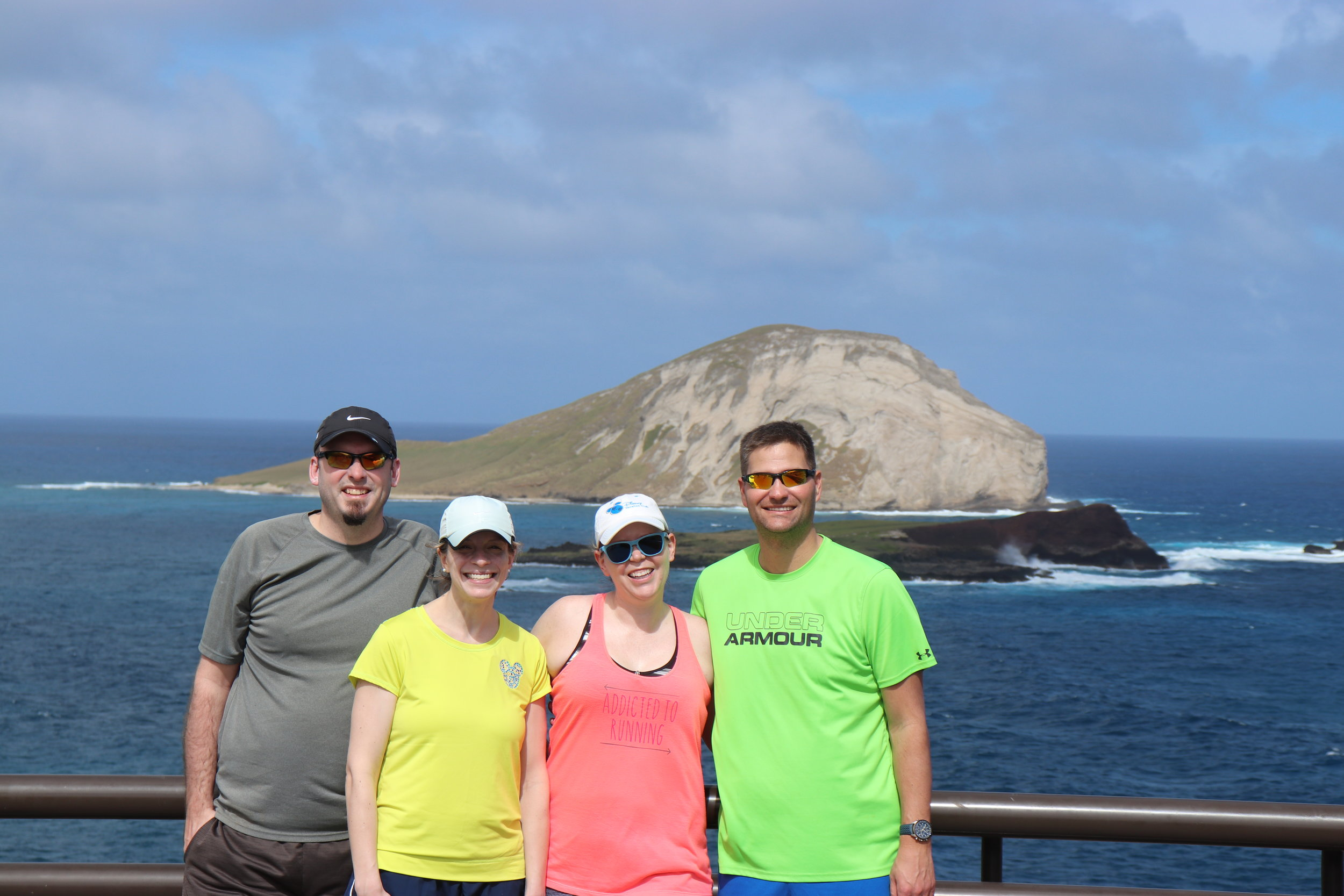 The group at Makapuu Point. (Rich must have missed the bright shirt memo.)