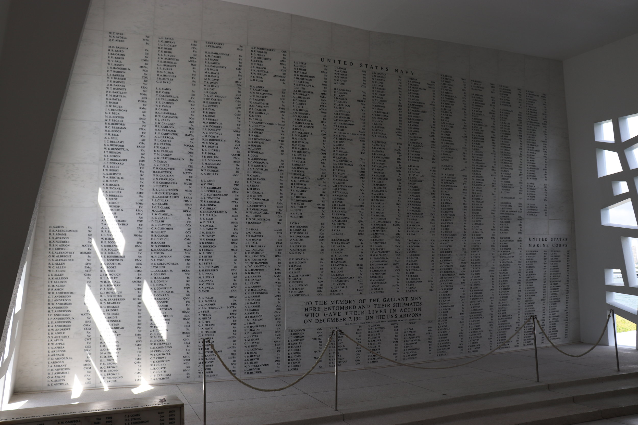 This wall has the names of everyone who died on the USS Arizona that day.