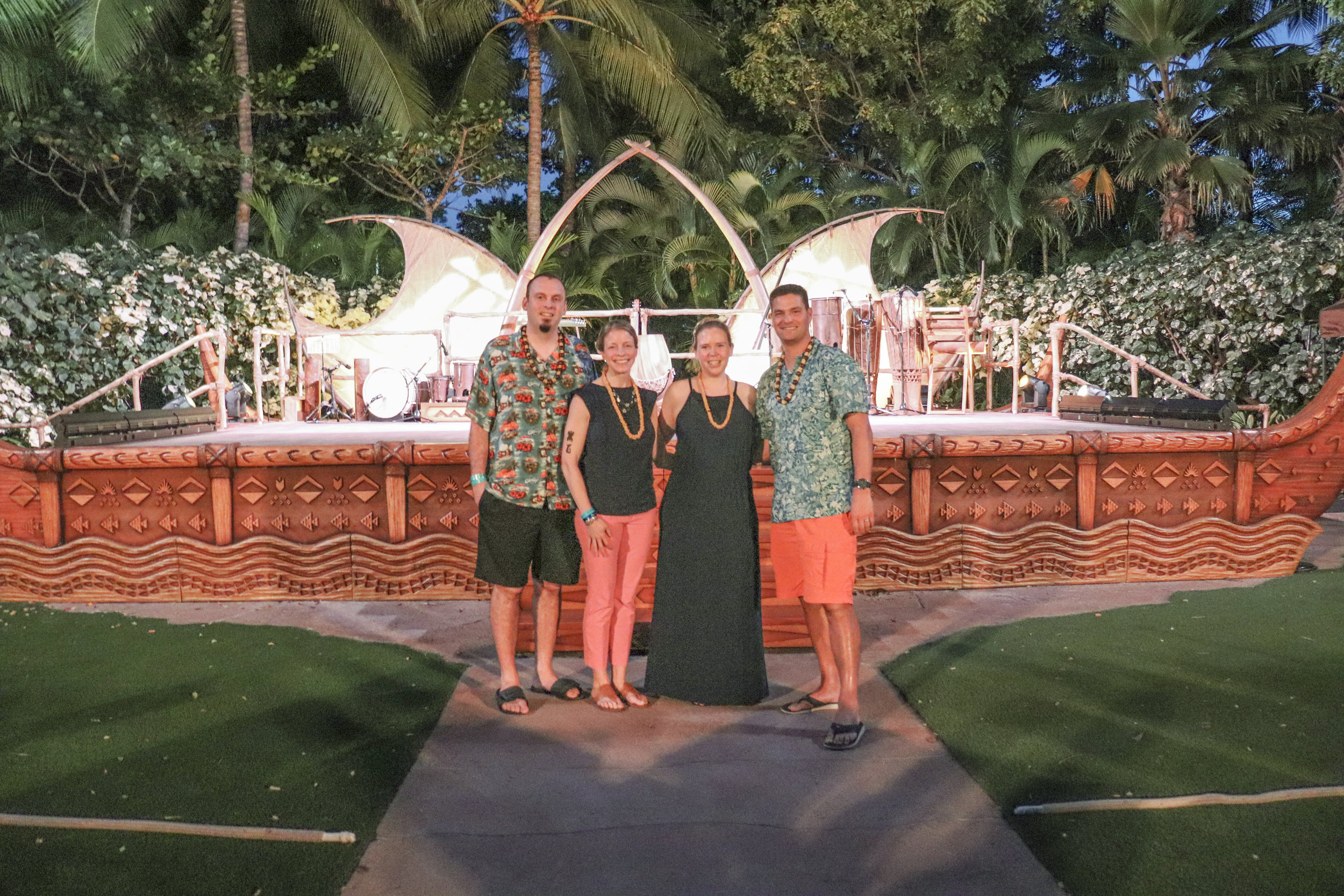 The gang in front of the stage at the Ka Wa'a Luau.