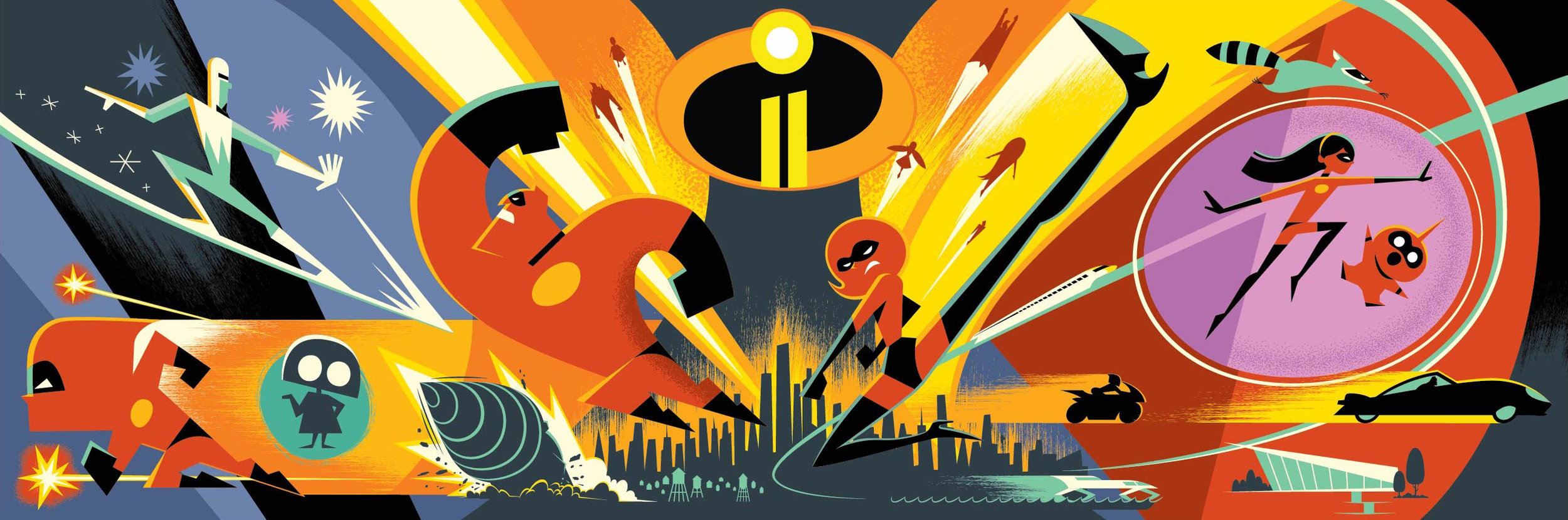 Some awesome concept art for Incredibles 2. This style of art was featured in the credits which was fun!