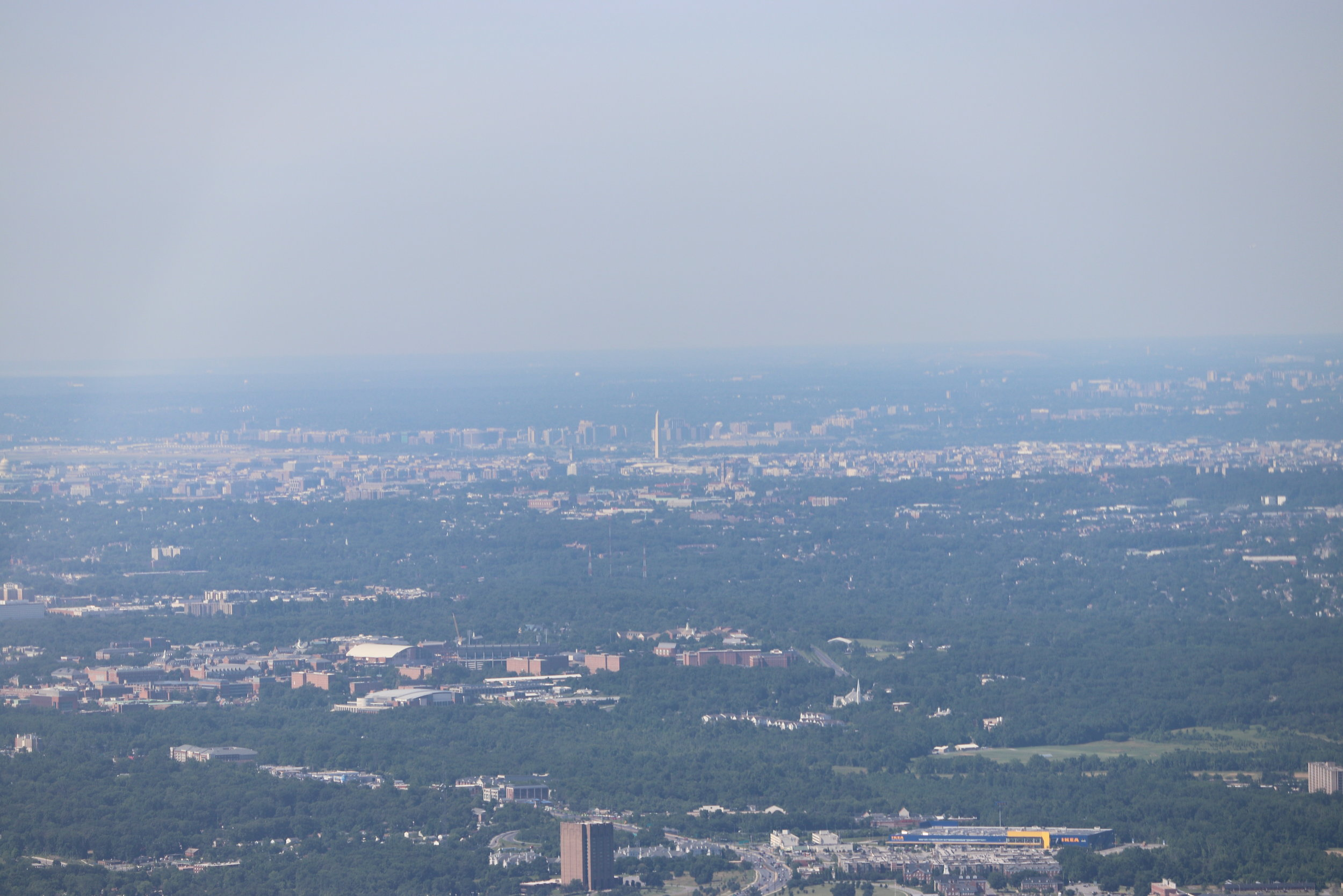 The University of Maryland in the foreground with the Washington Monument in the background.