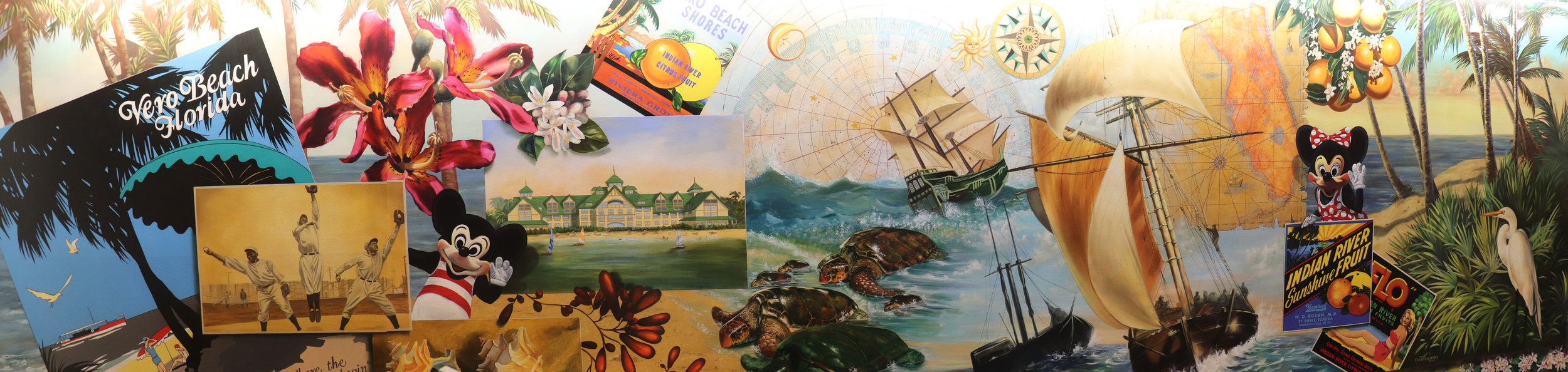 A fun vintage mural decorates the check-in area.