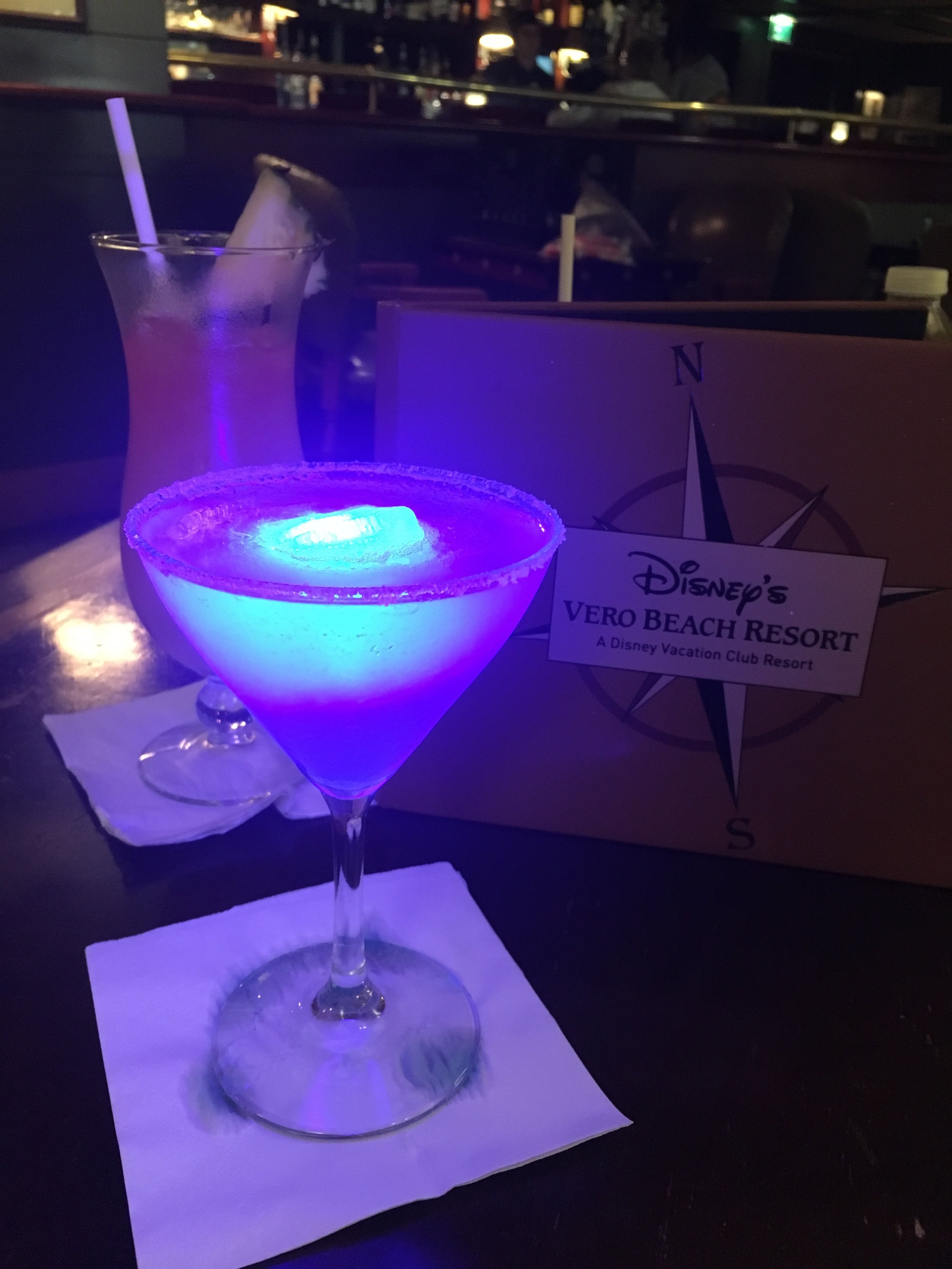 Blue Glow-tini and Rum Swizzle.