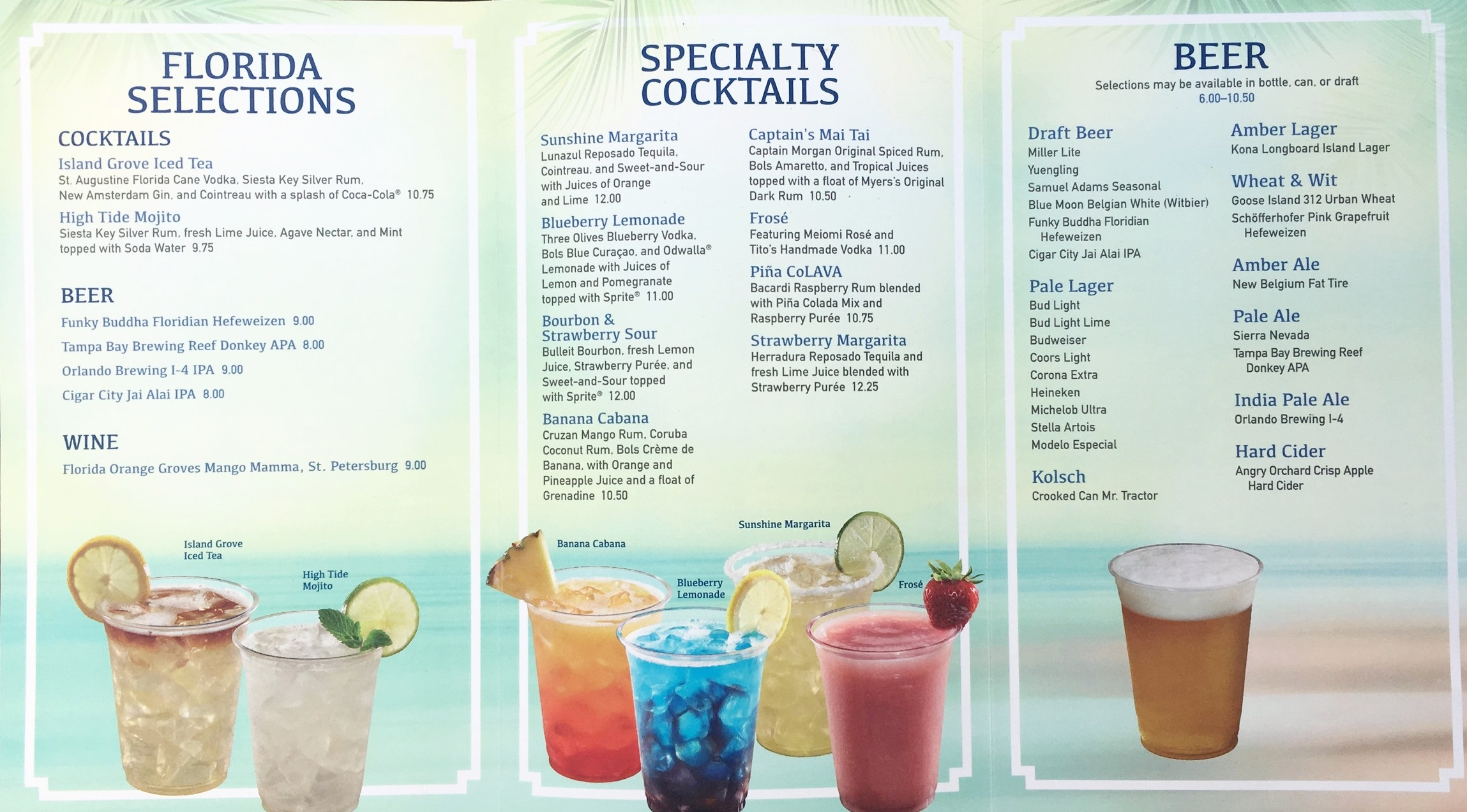 The inside of the drink menu at the Wind & Waves Bar. (Click to enlarge)