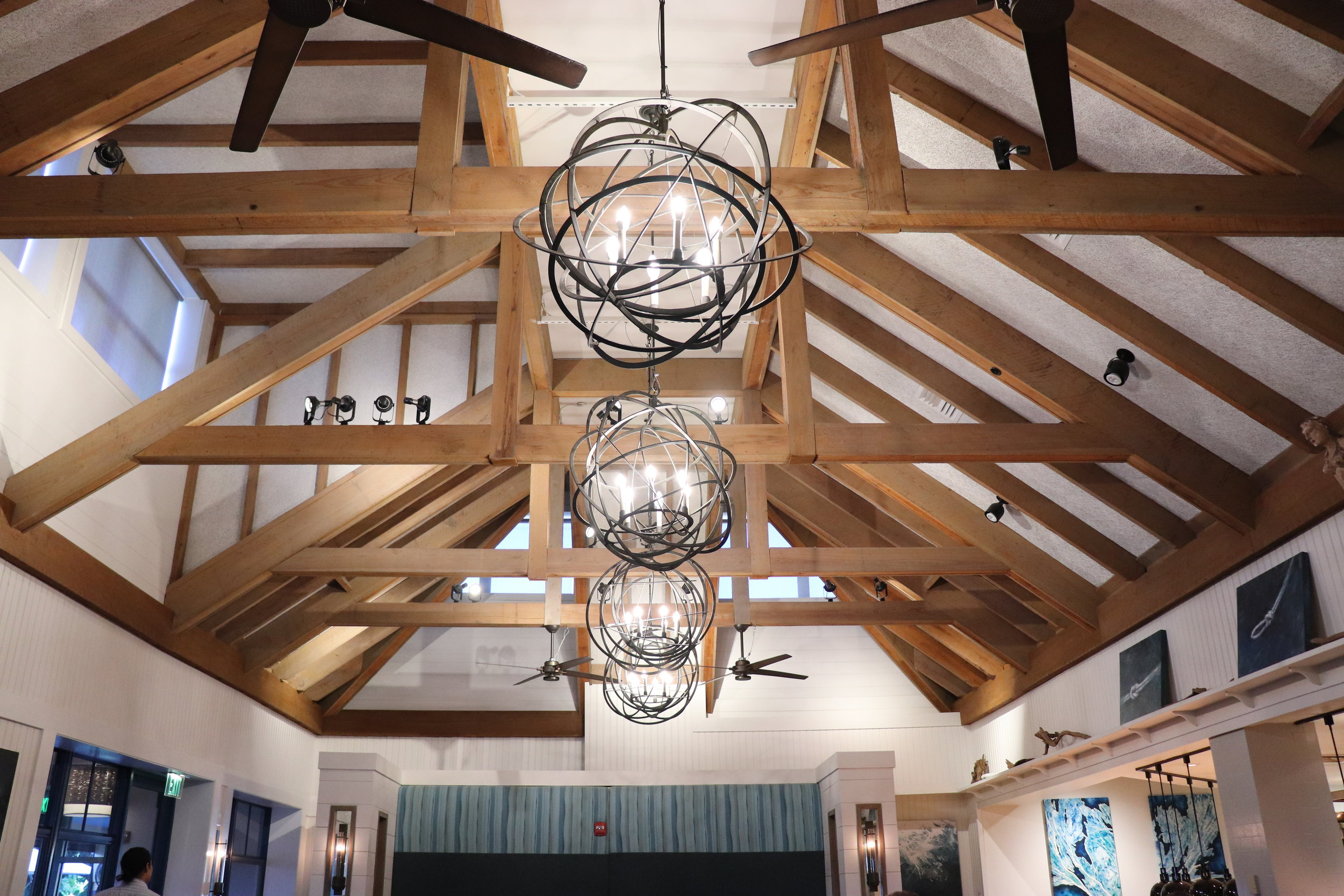 Check out these cool light fixtures and ceiling!