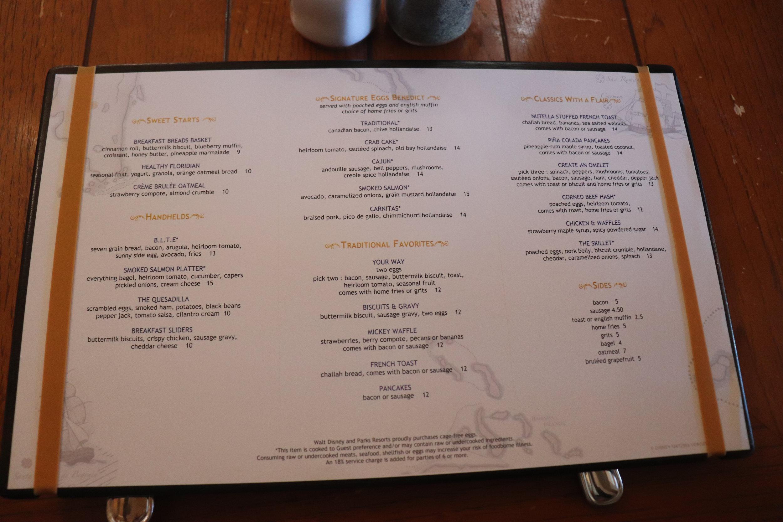 Breakfast Menu (Click to Enlarge)