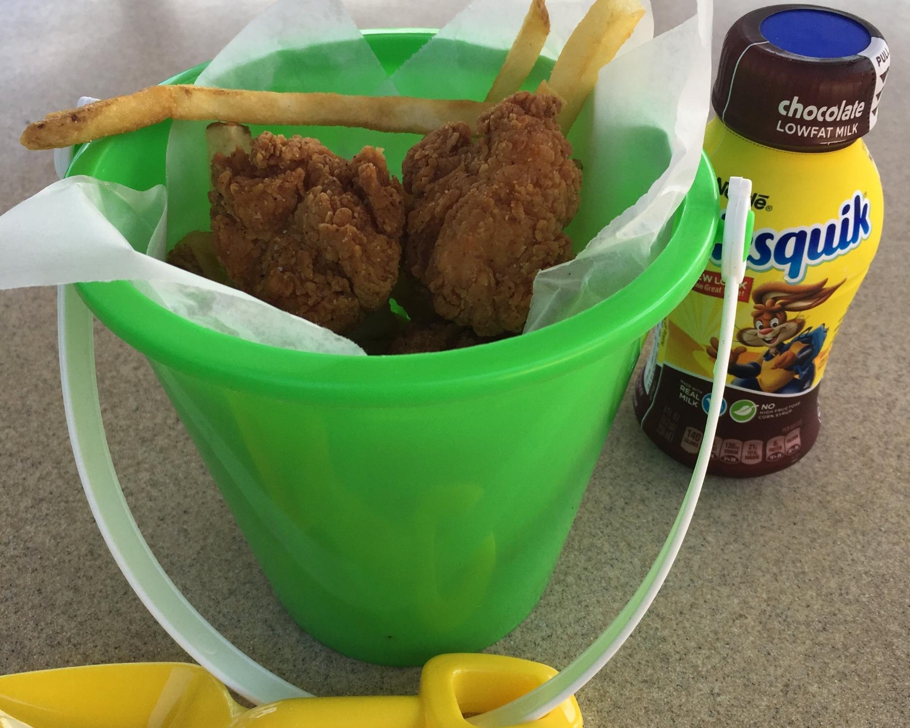 Kids chicken fingers meal.