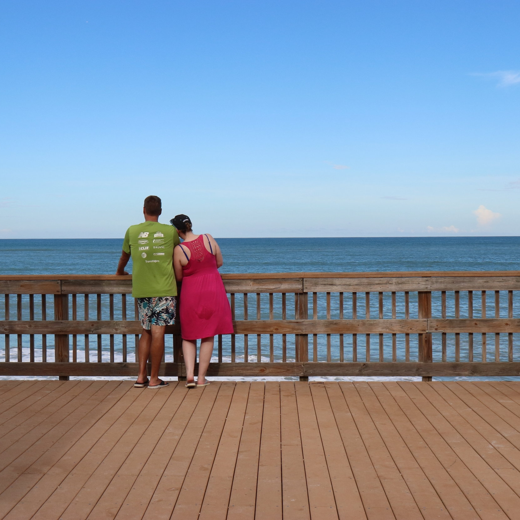 Enjoying a view of the sea, from the boardwalk.