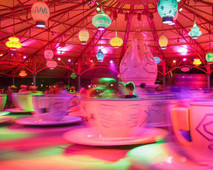 Mad Tea Party featured a special lighting overlay.
