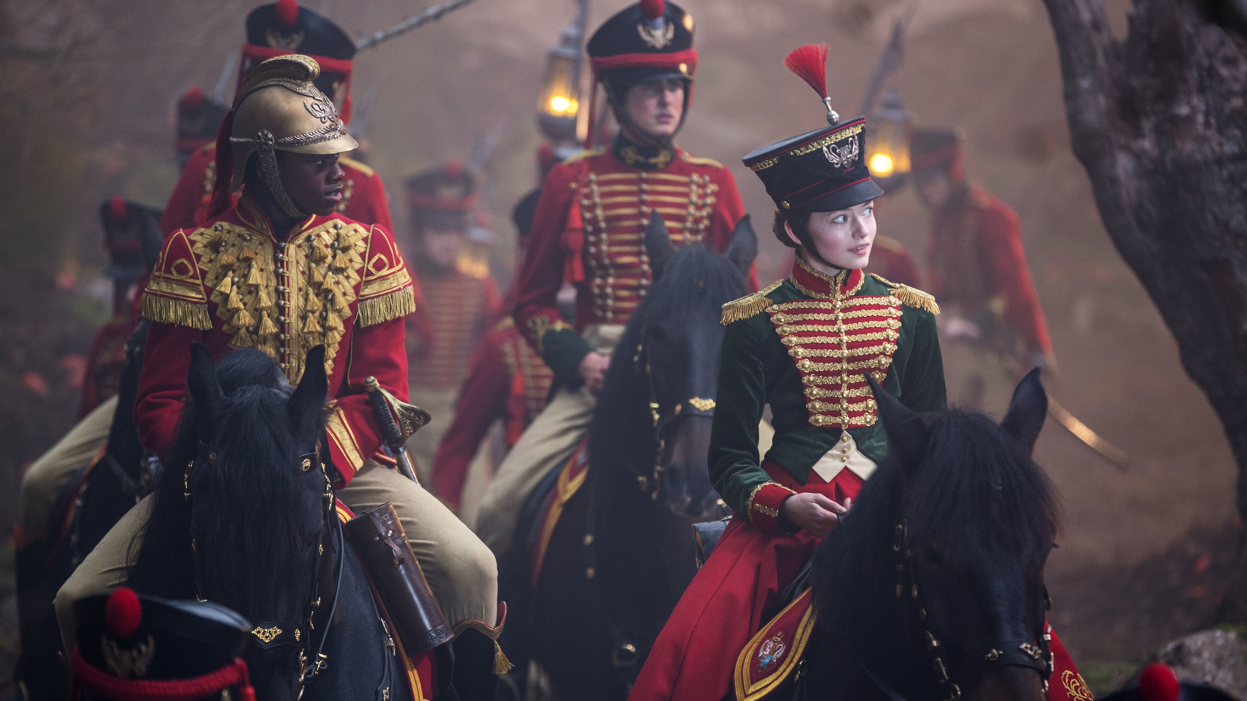 Clara and Phillip leading the other soldiers on a mission.