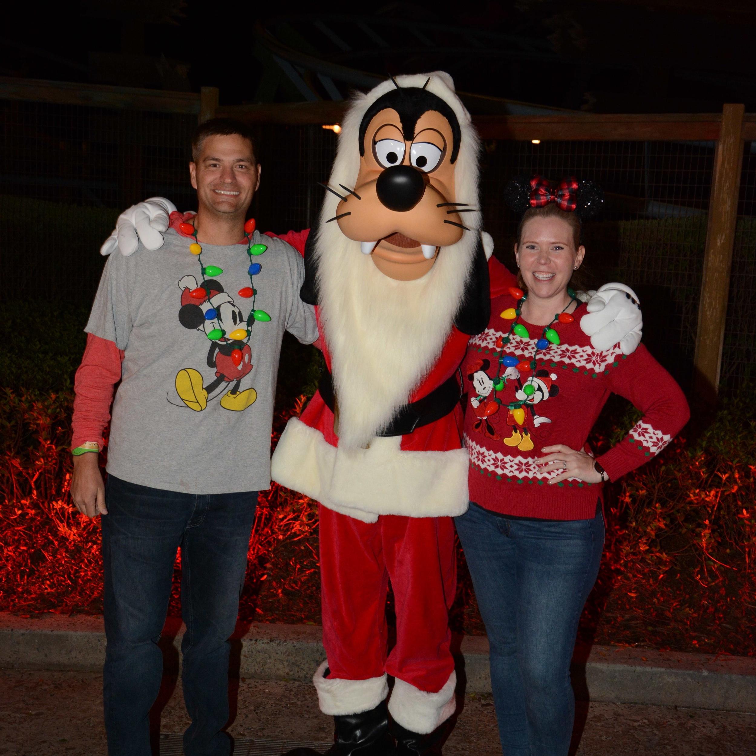 We did meet Goofy in santa attire.