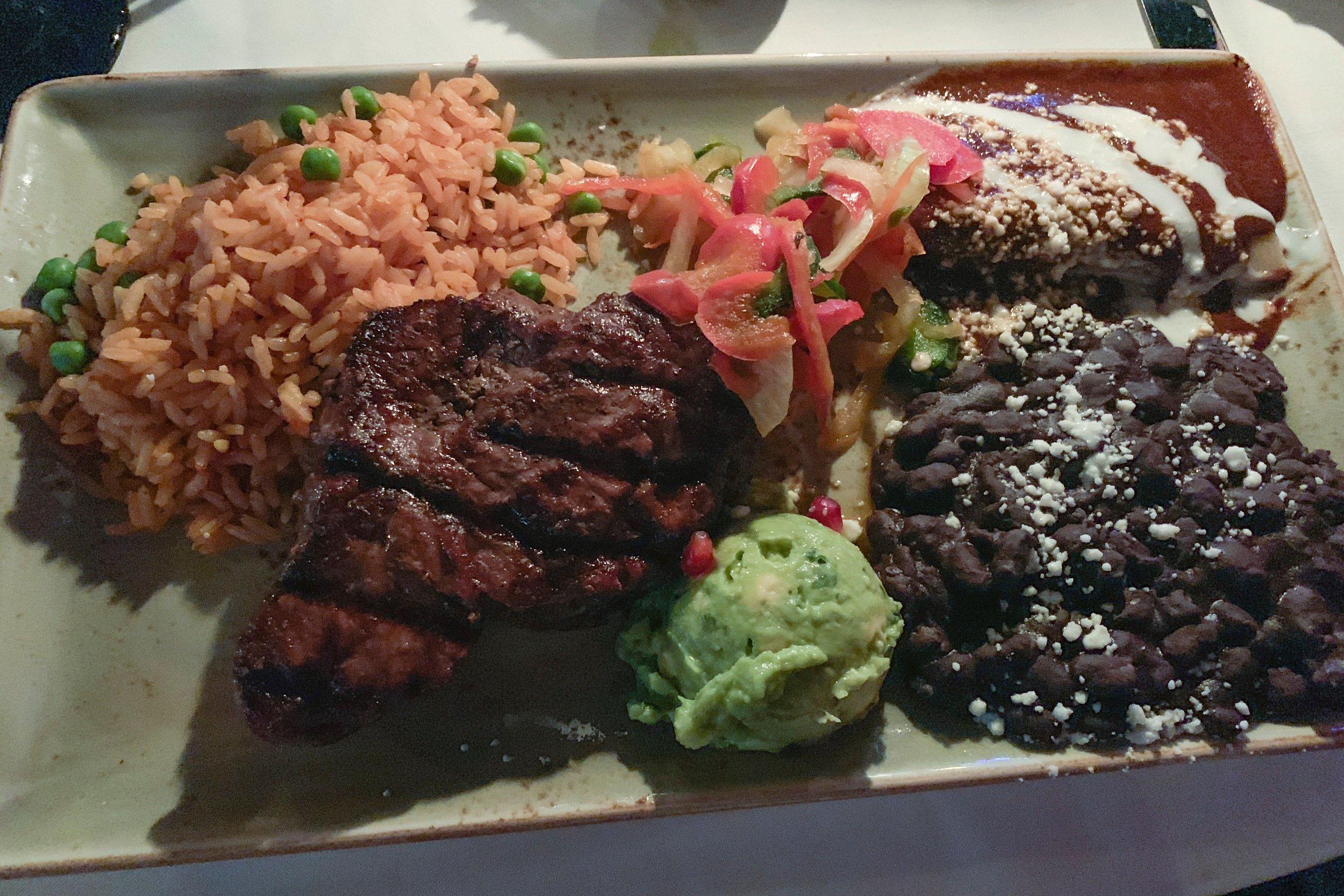 Julie's Carne Asada Tampiquera meal.