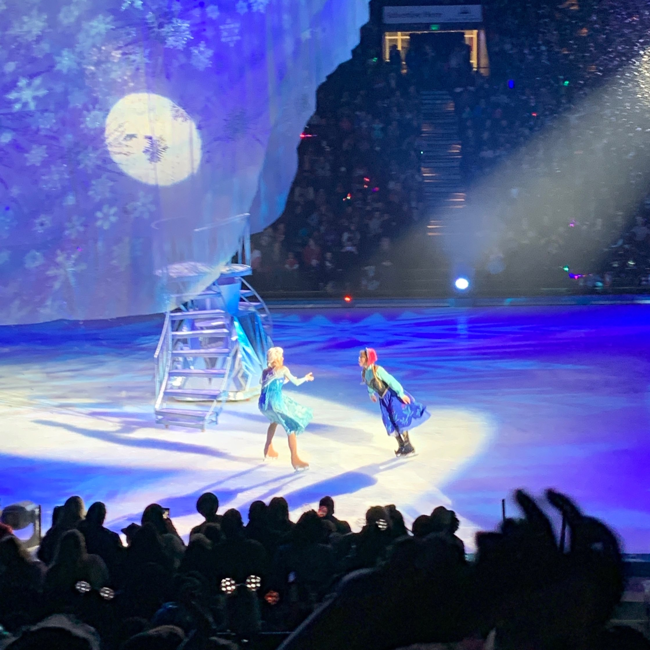 Elsa & Anna even brought snow to the arena.