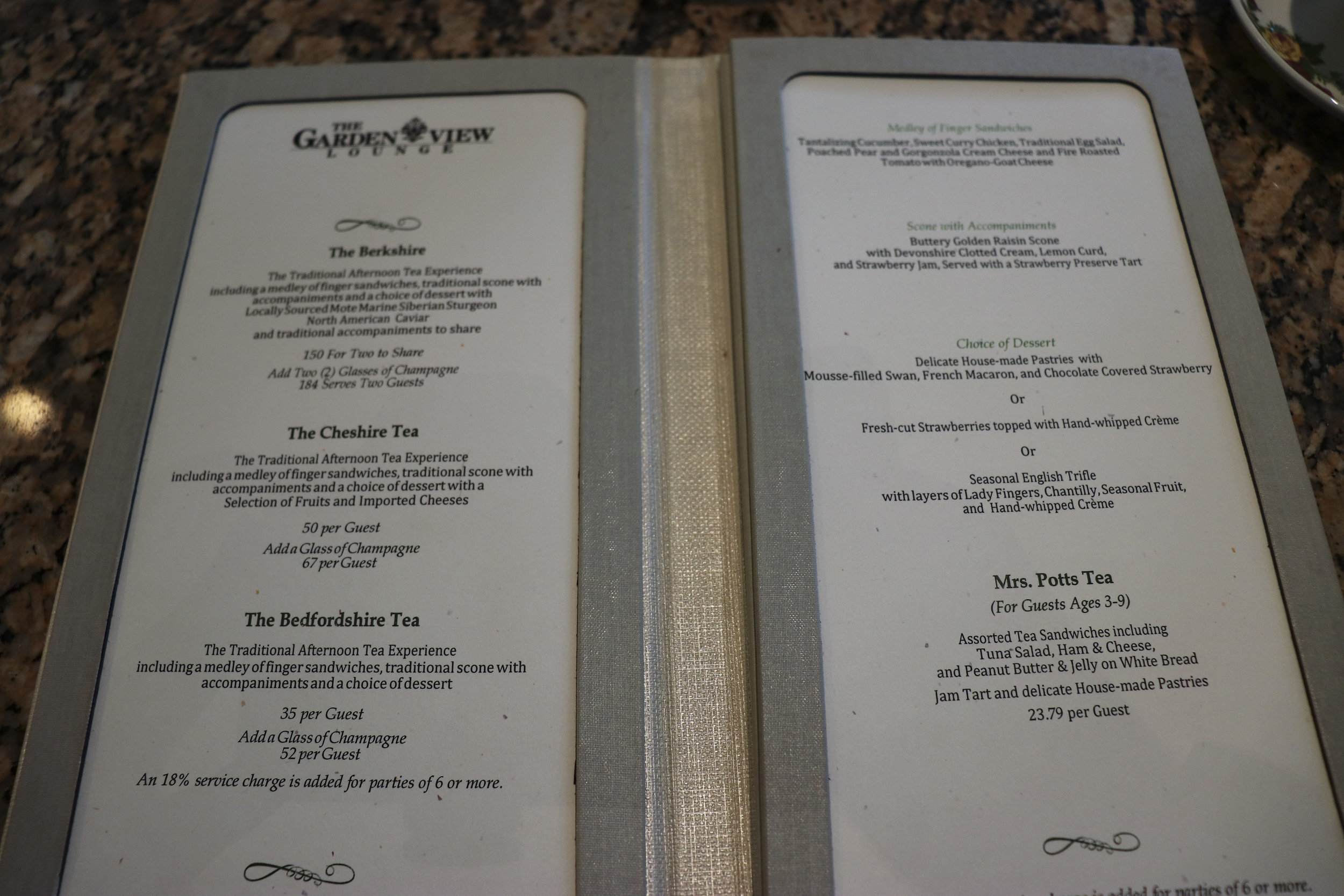 The menu of afternoon tea packages. (Click to enlarge)