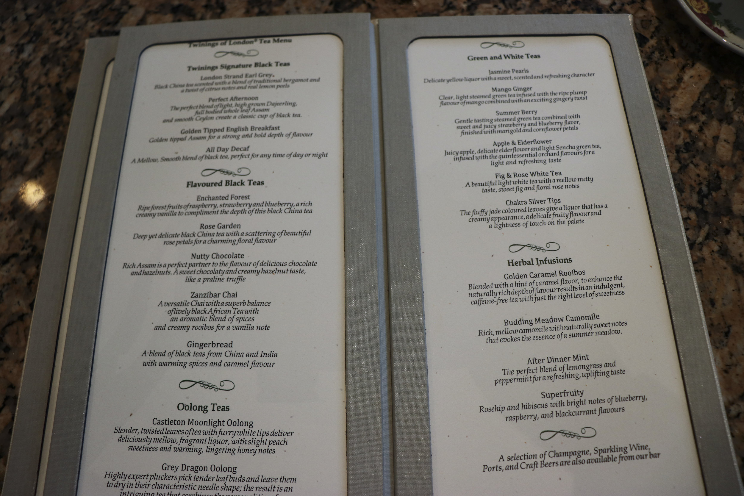 The menu of tea selections. (Click to enlarge)
