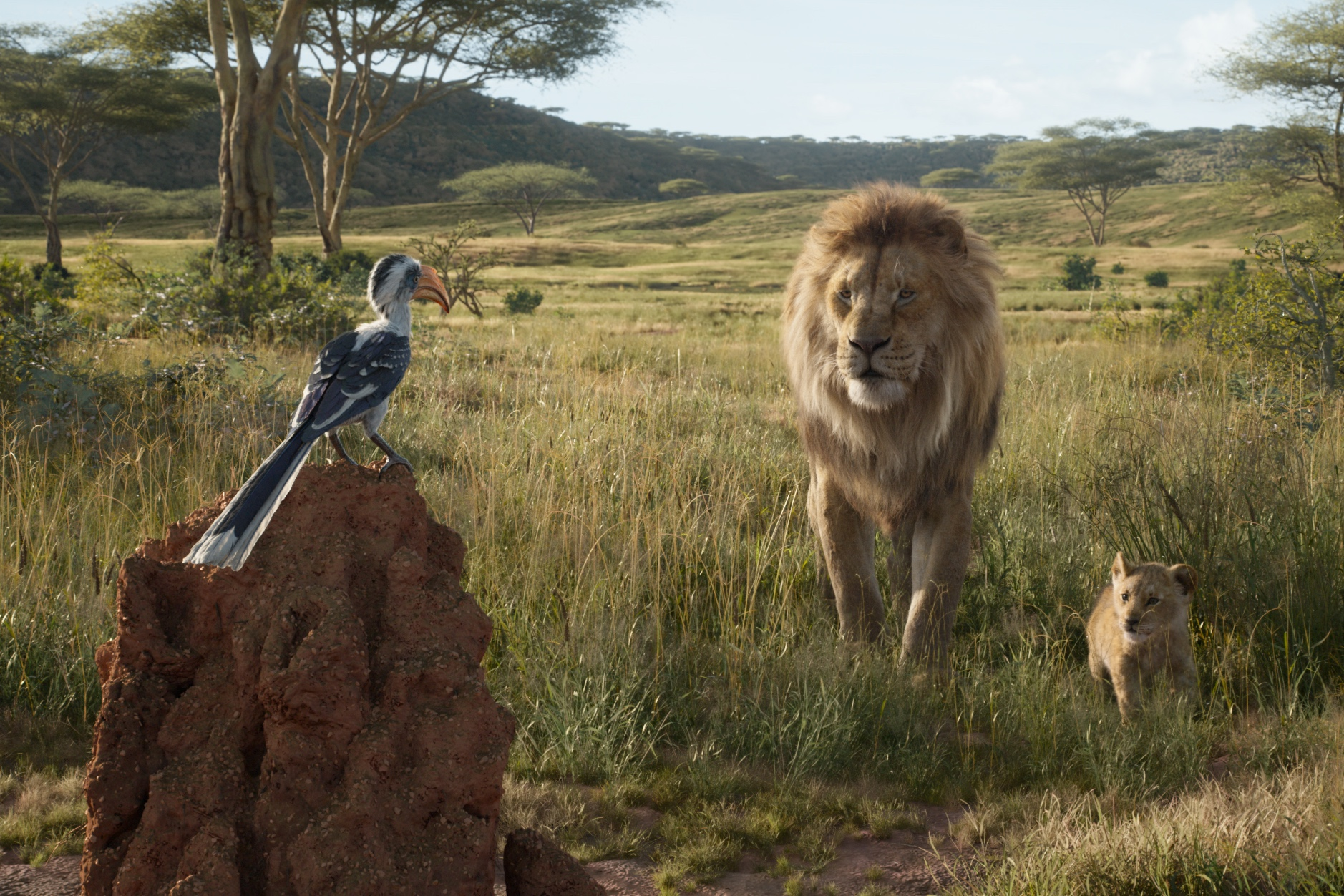 Mufasa (Jones) and Simba (McCary) chatting with Zazu (Oliver).