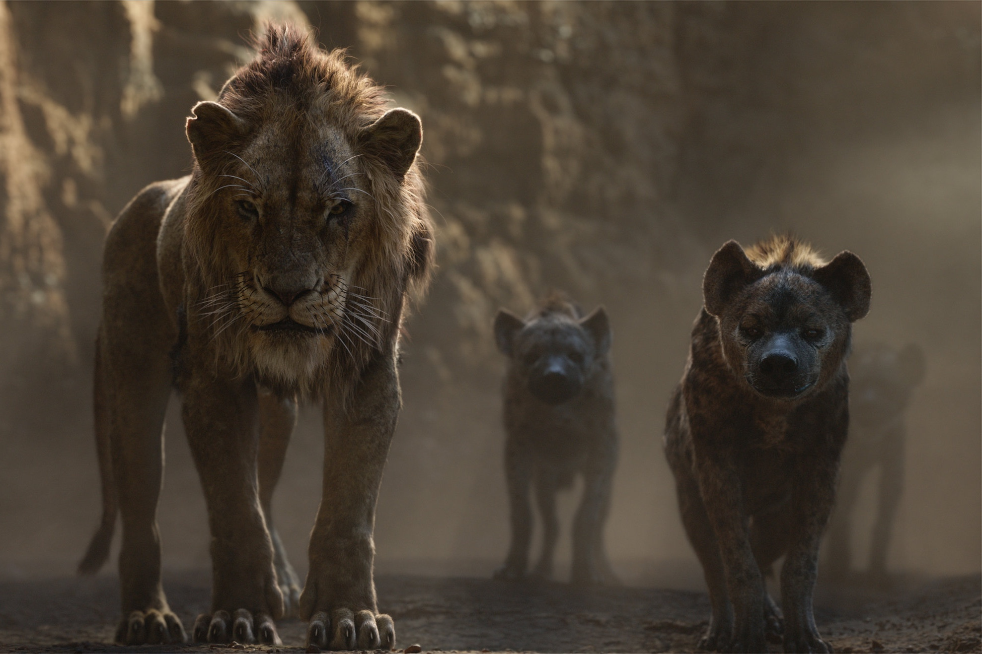 Scar (Ejiofor) with the hyenas being prepared.