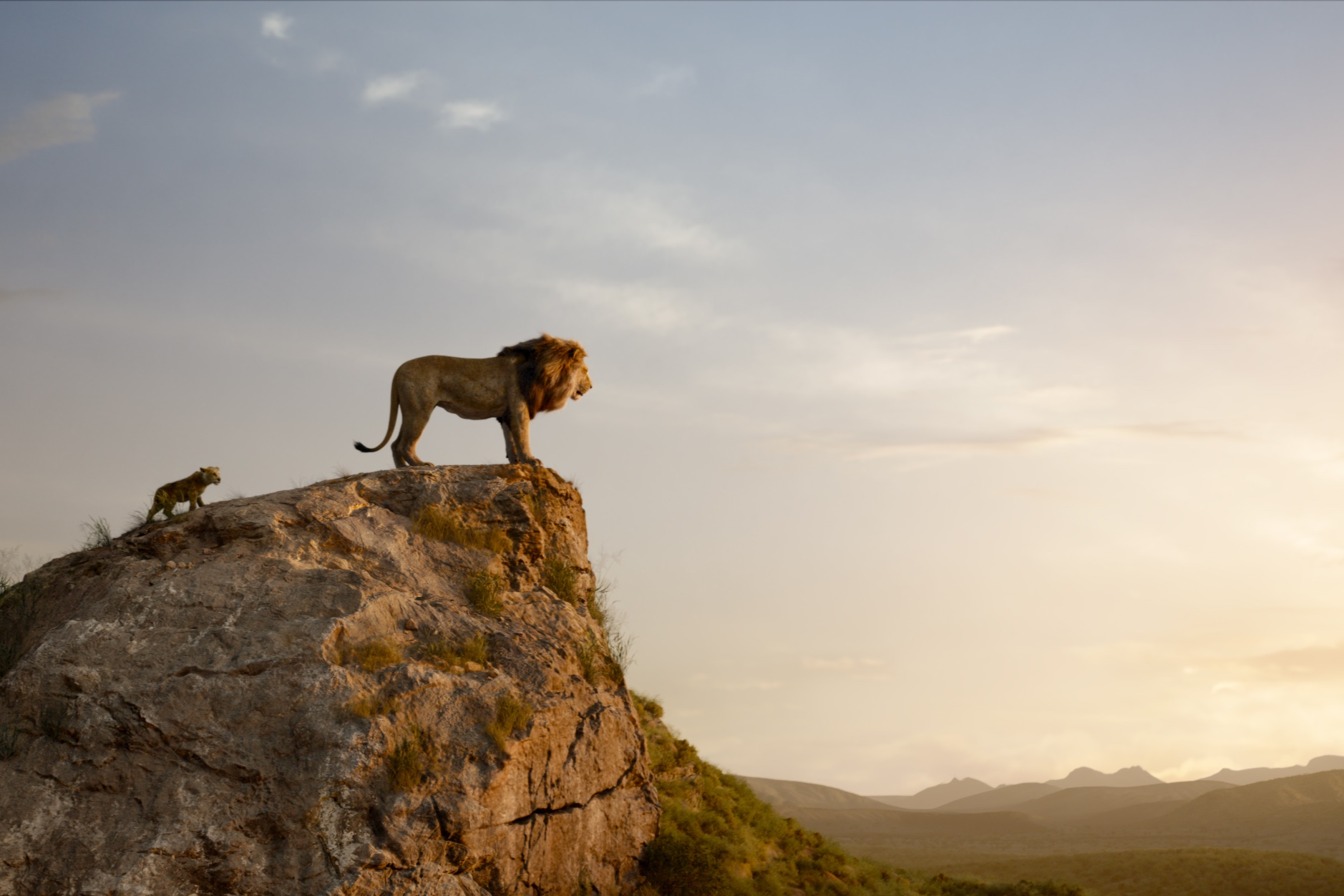 Mufasa and Simba in the majestic landscape.