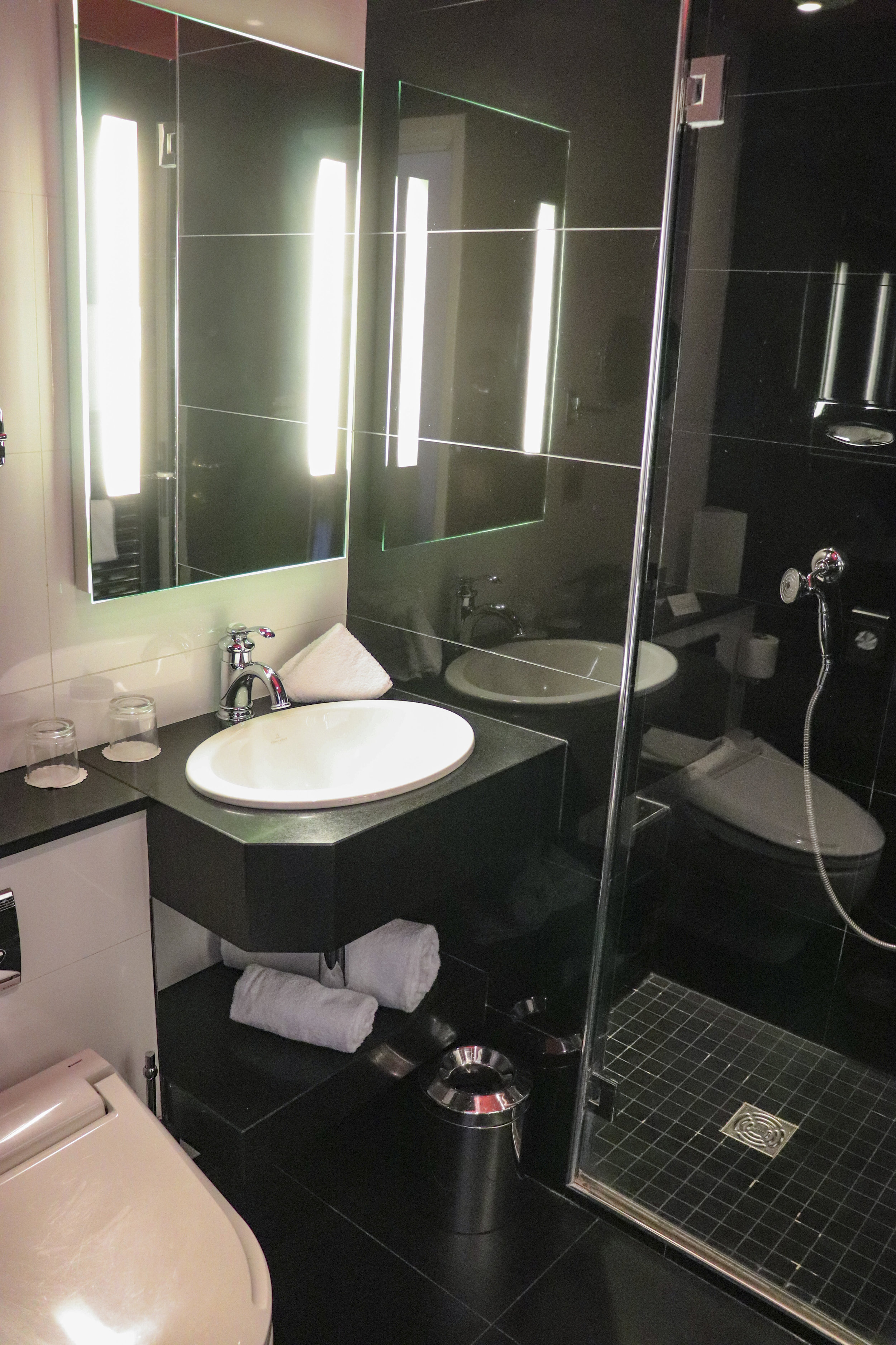 A view of the bathroom area.