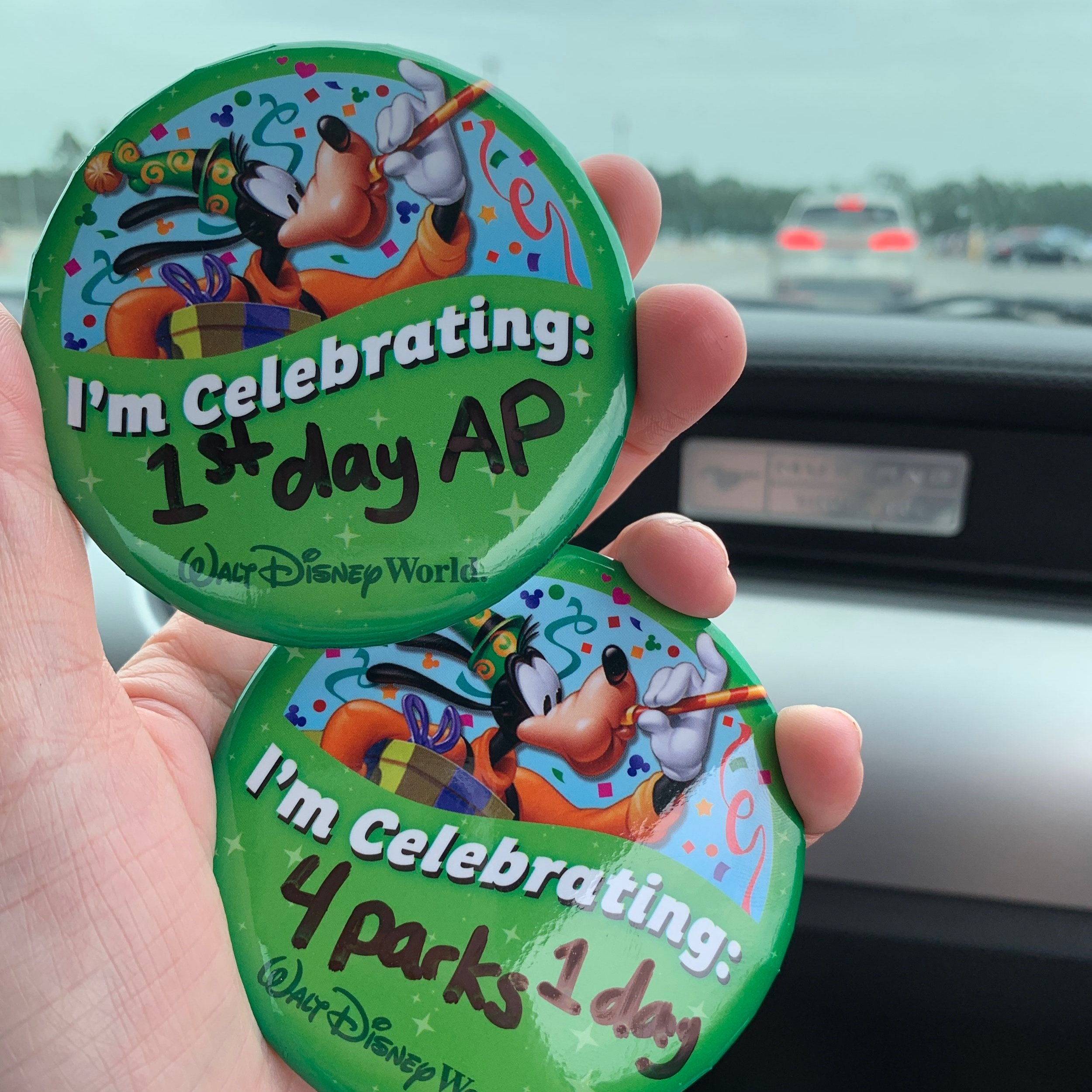 We got some celebratory buttons for the day.