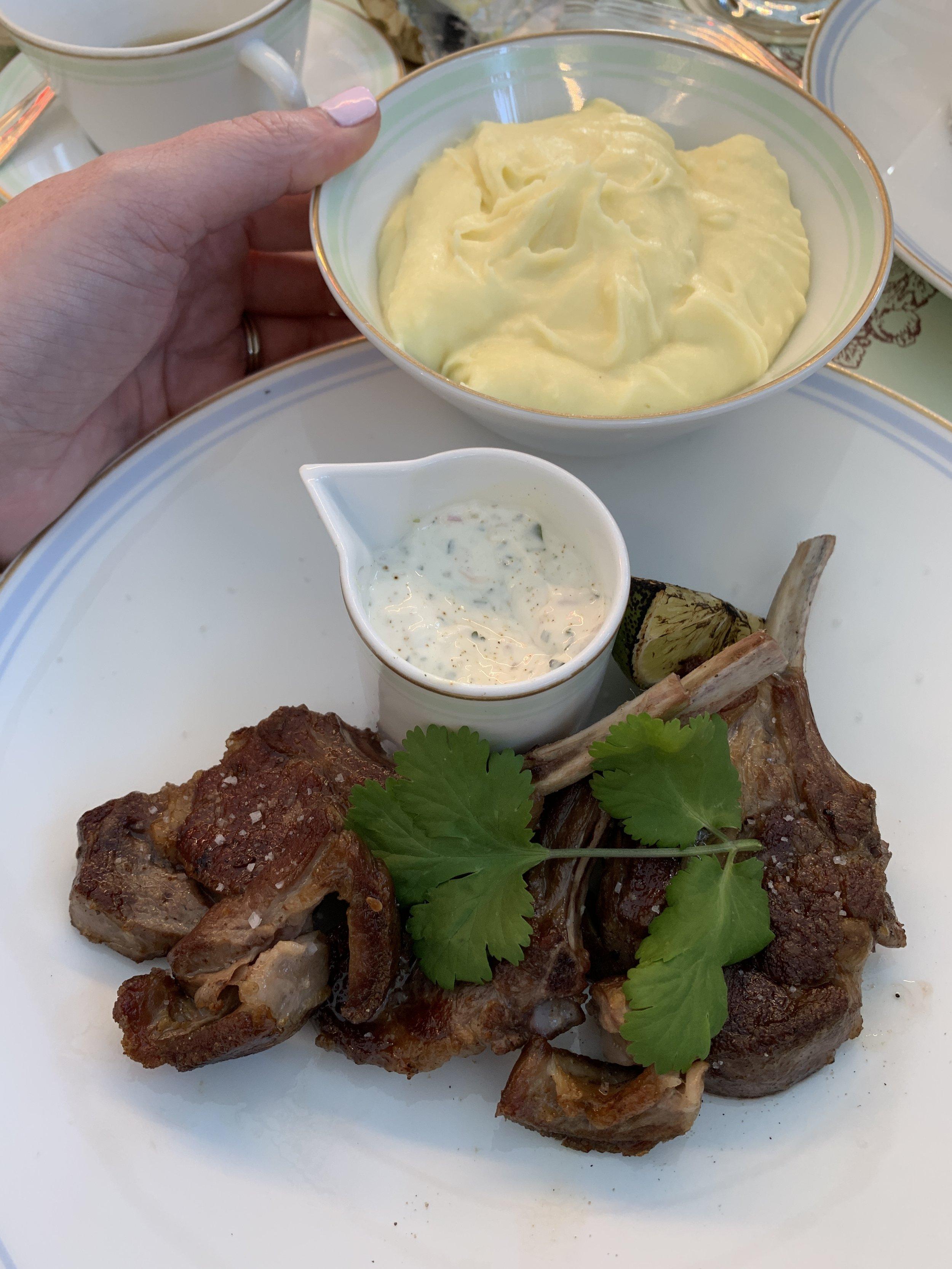 Lamb chops and potatoes.
