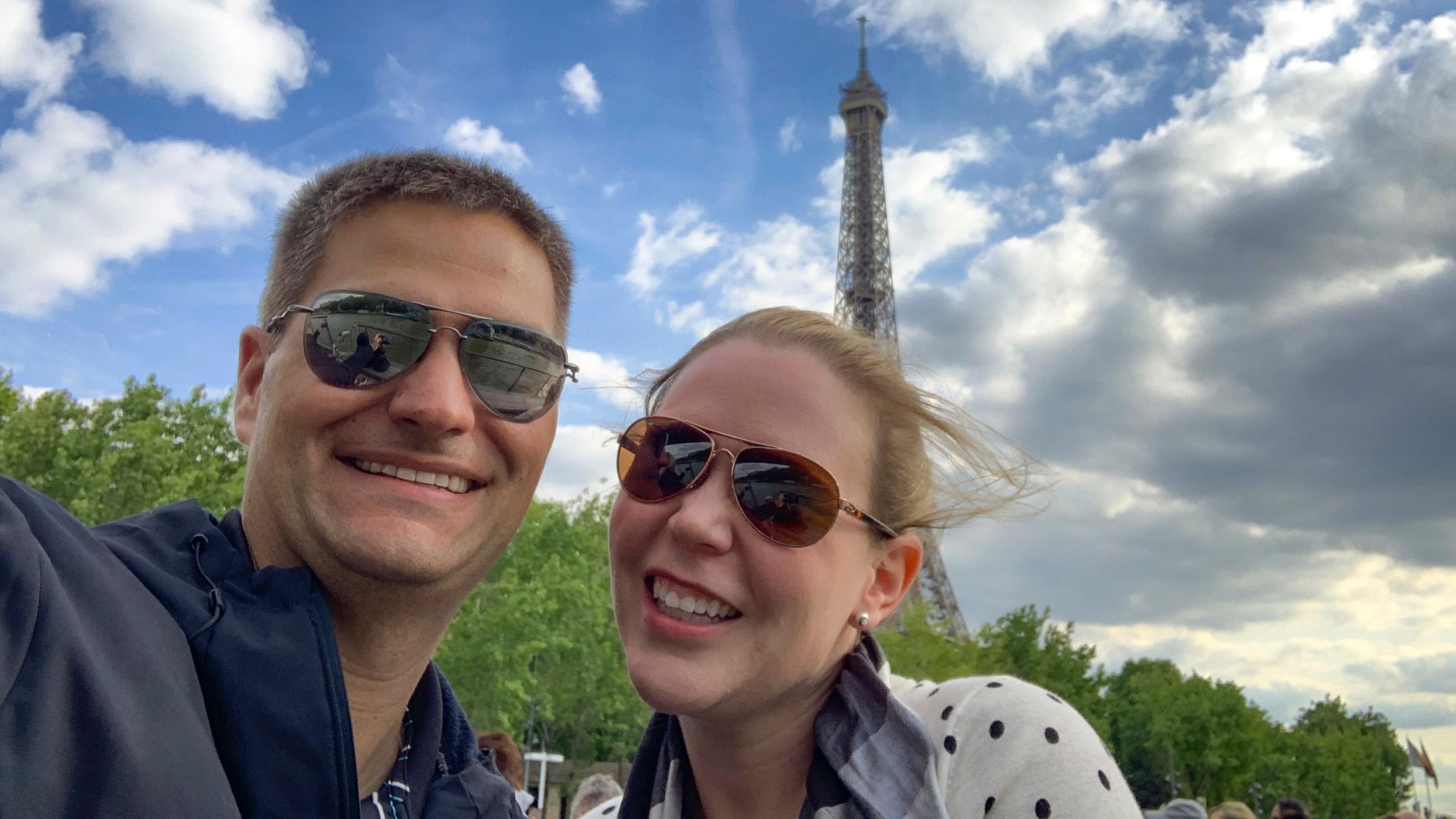 Enjoying a river tour on the Seine.