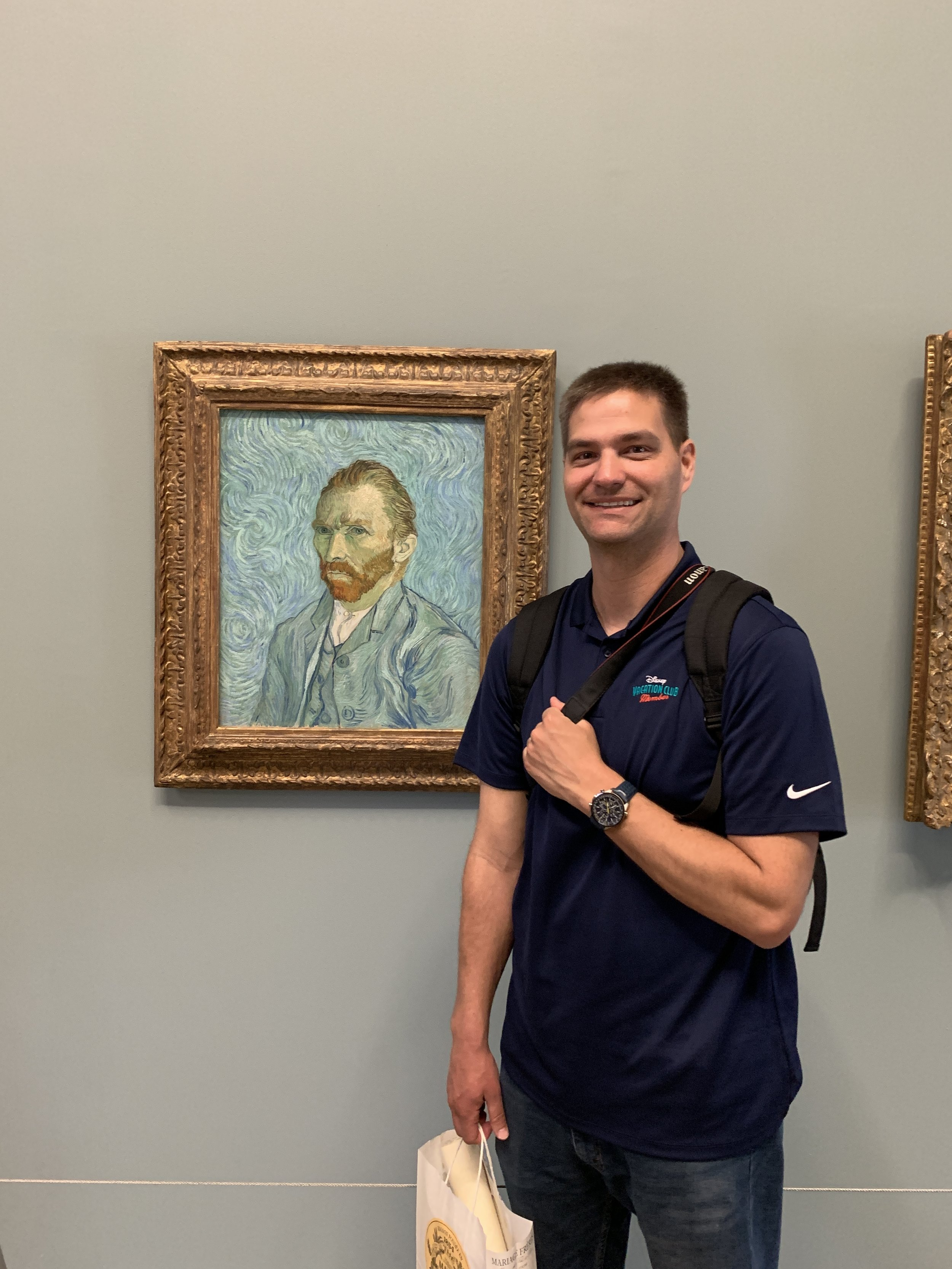 "Andrew with ""Self-Portrait"" by Vincent van Gogh"