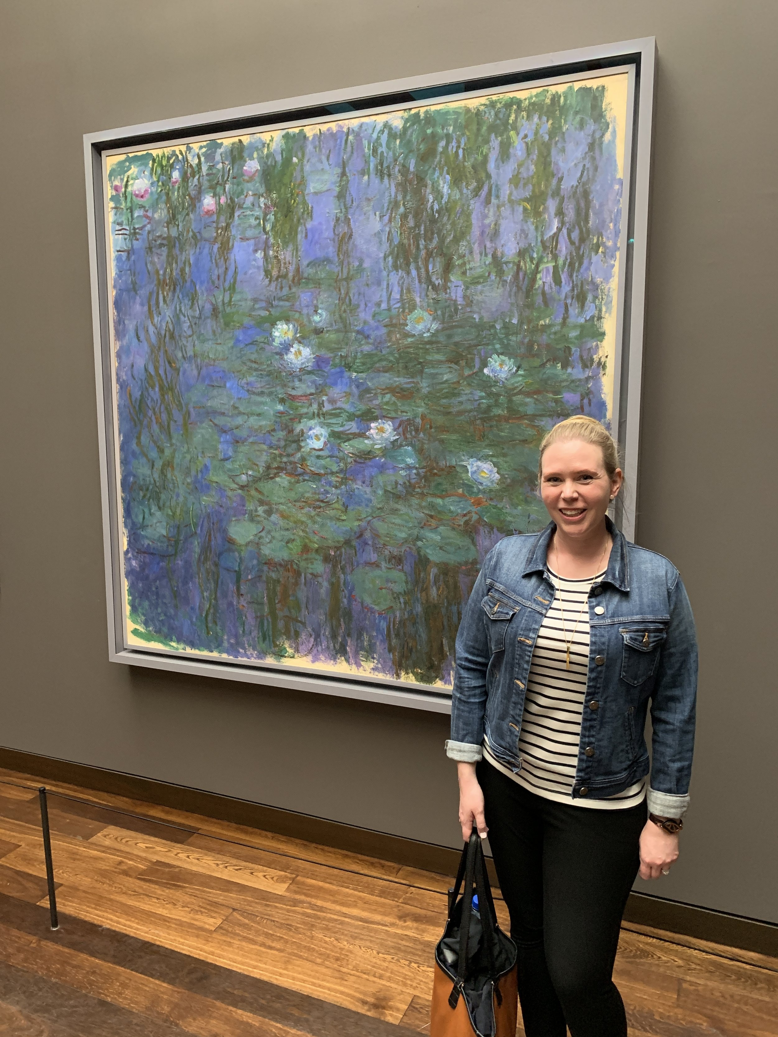 "Julie with ""Blue Water Lilies"" by Claude Monet"