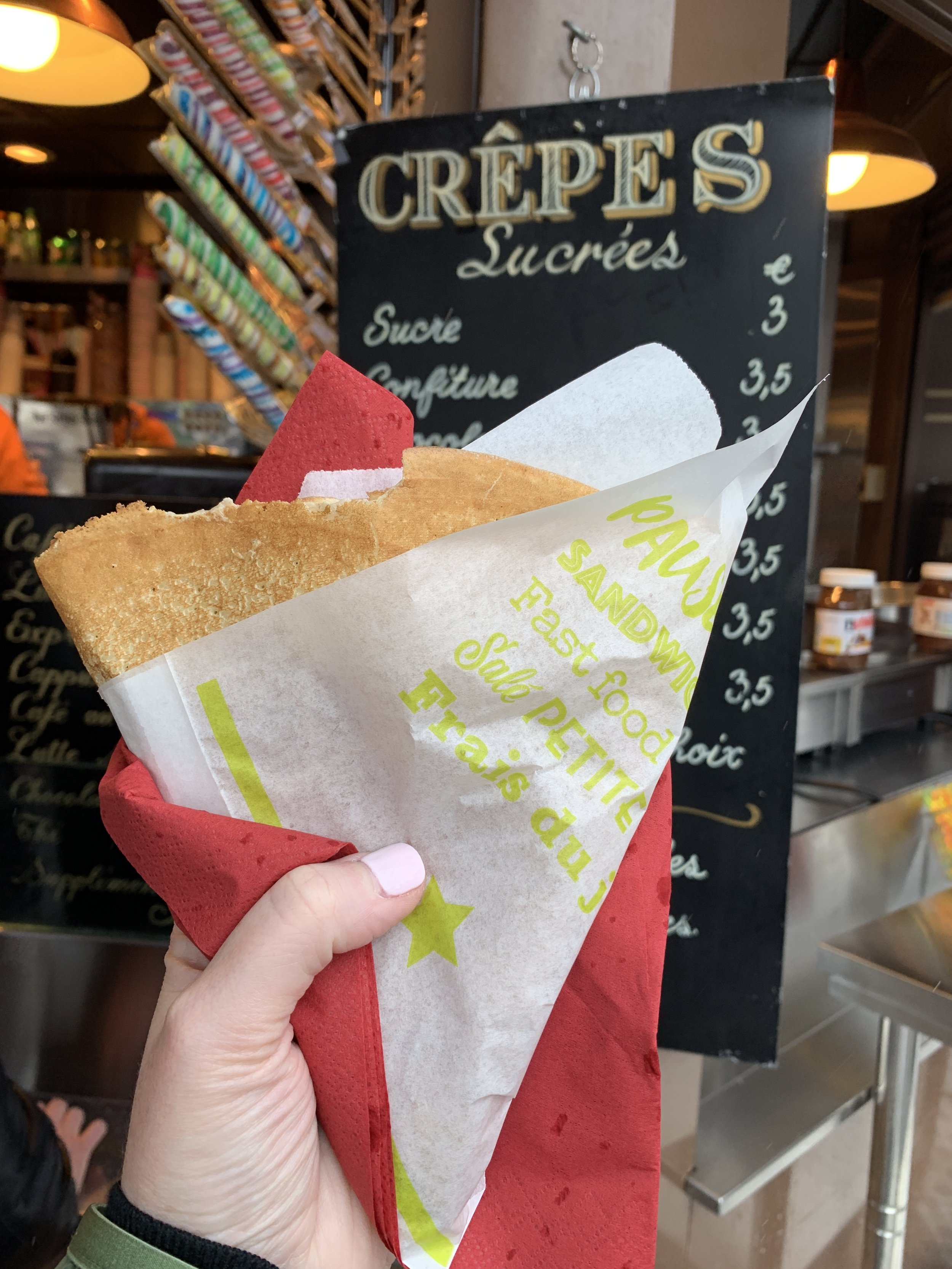 We enjoyed a crepe from a vendor down below.