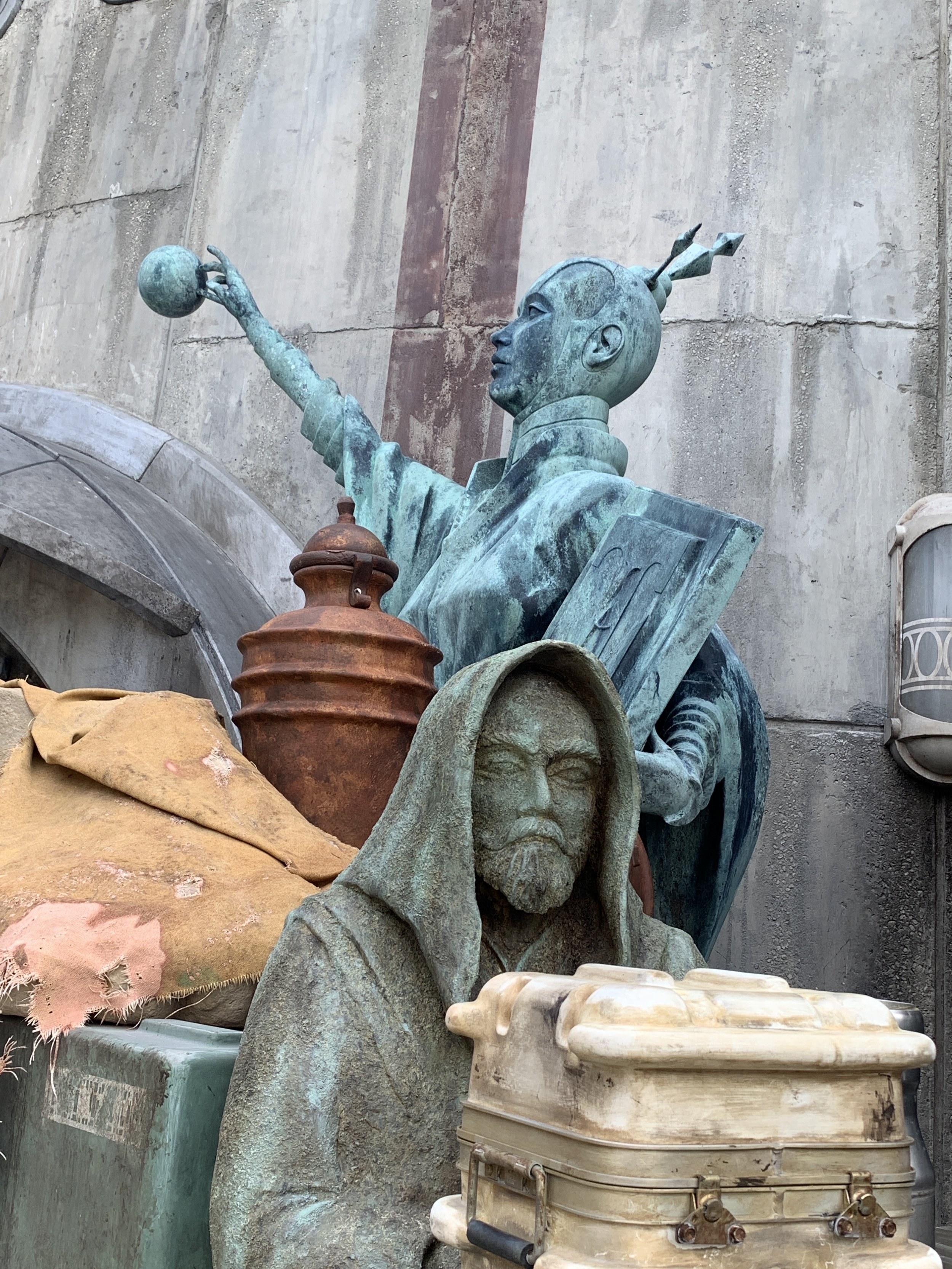 Amazing sculptures outside of a store.