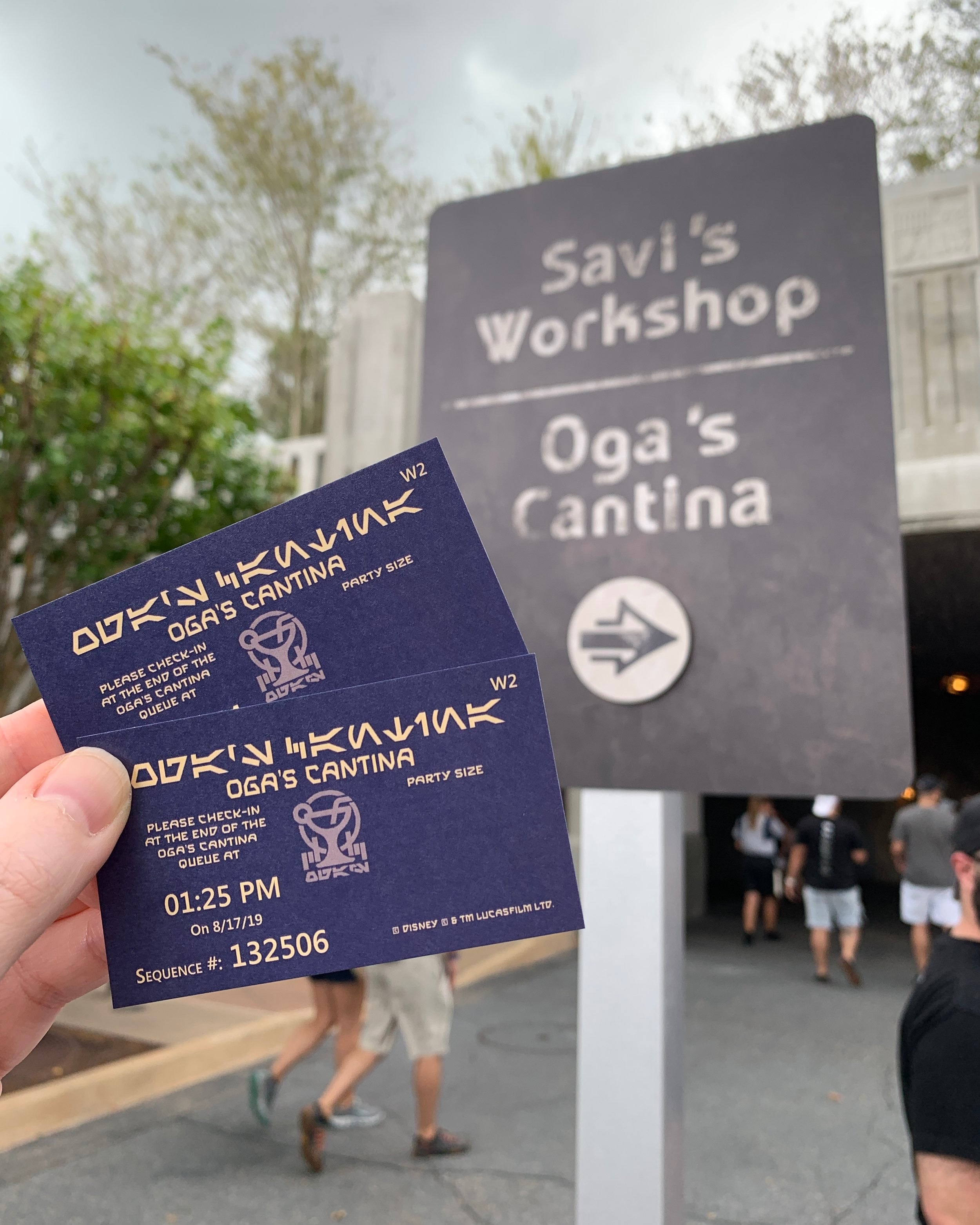 We checked-in to receive a reservation time for Oga's Cantina