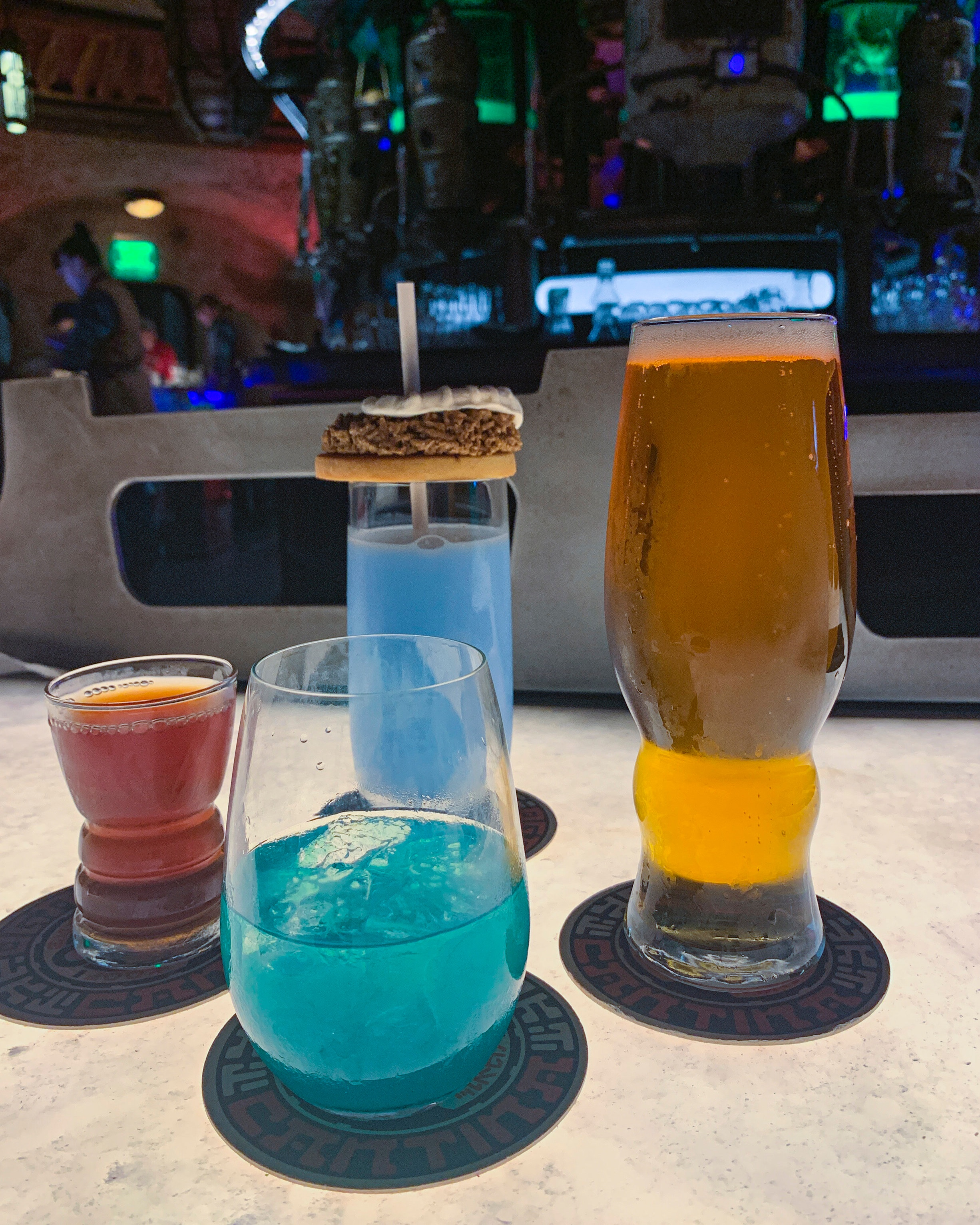 An assortment of drinks including our Jedi Mind Trick and Bantha Milk.