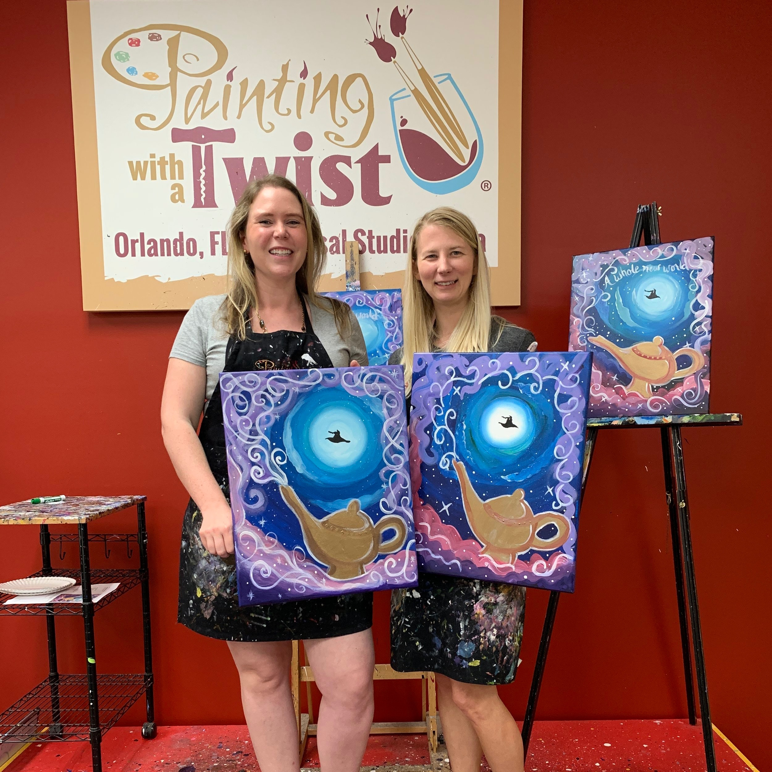 Julie and Kelly with their final masterpieces. Not too shabby right?