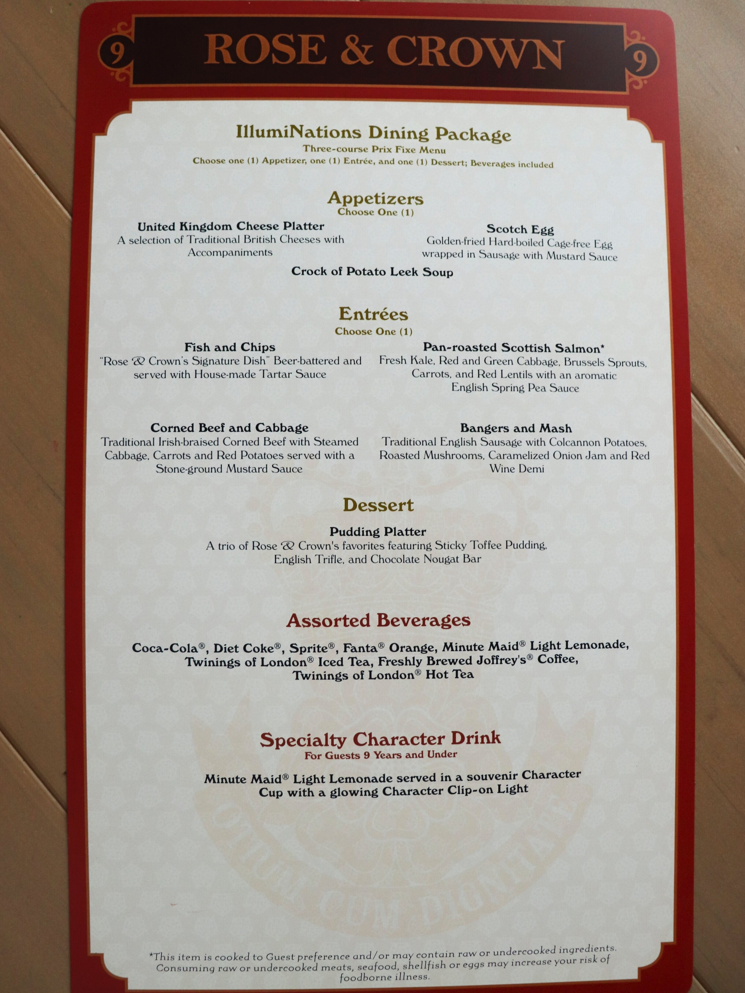 Menu Side 1: Meals and Non Alcoholic (Click to enlarge)