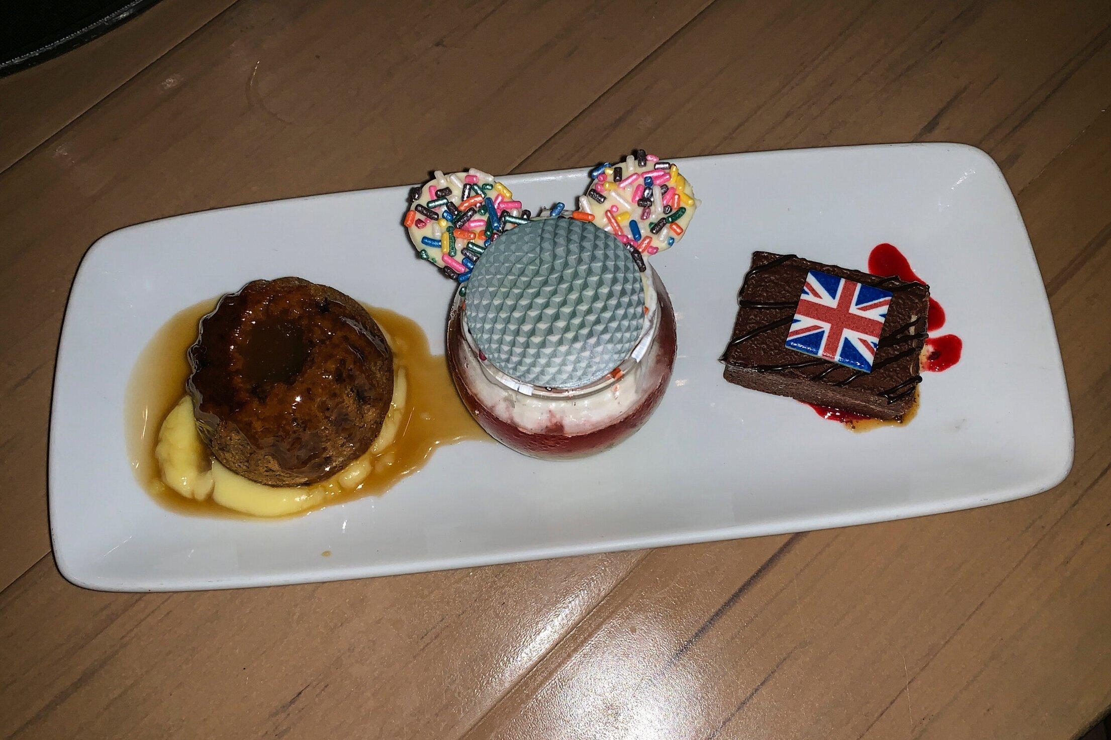 A trio of delightful desserts.