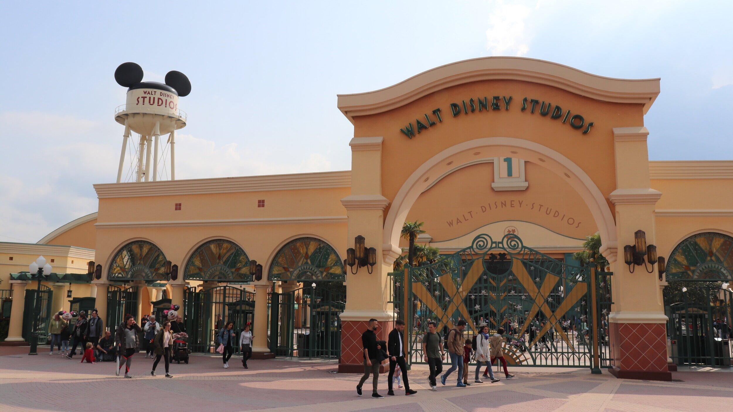 The outside entrance of Walt Disney Studios.